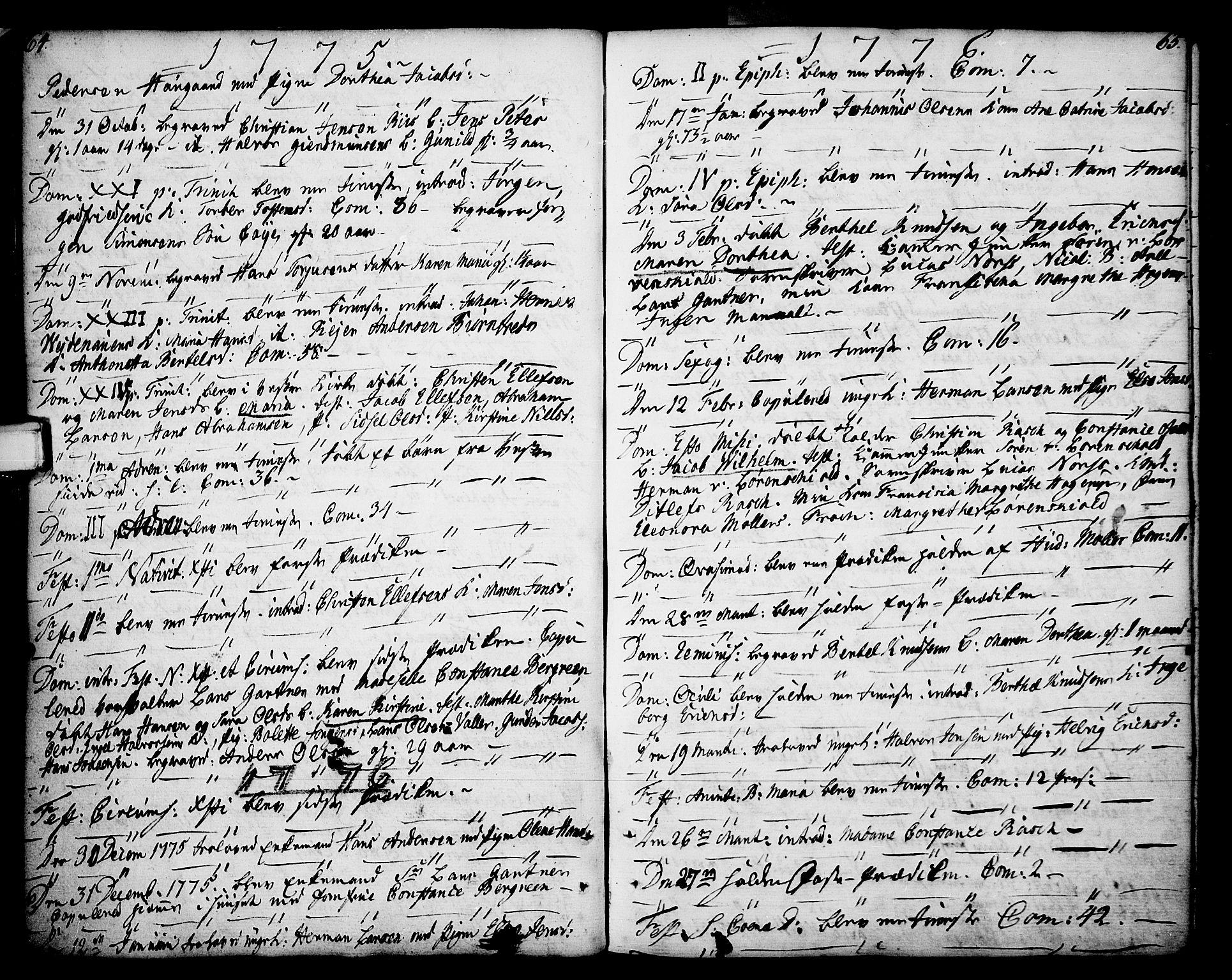 SAKO, Porsgrunn kirkebøker , F/Fa/L0002: Ministerialbok nr. 2, 1764-1814, s. 64-65