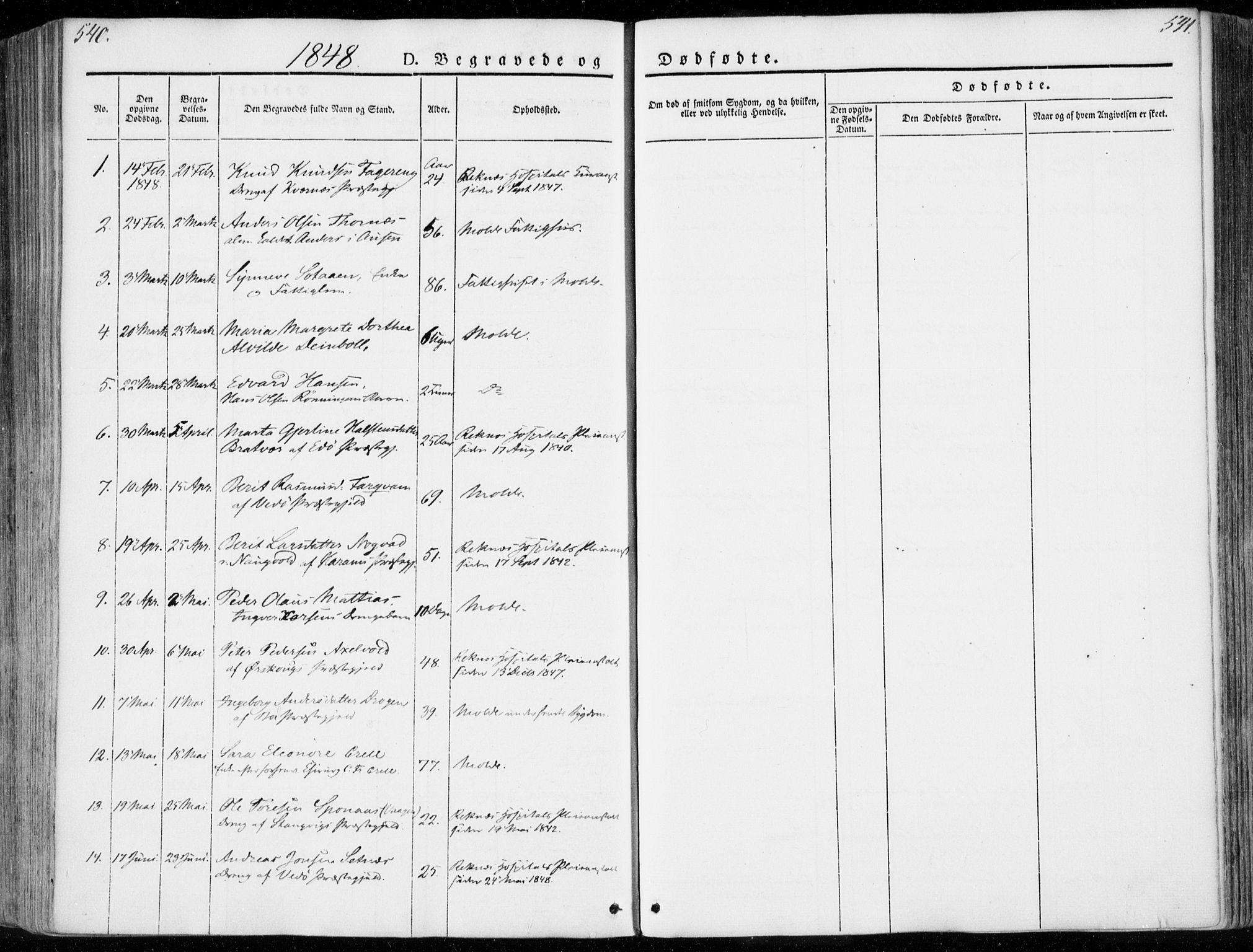 SAT, Ministerialprotokoller, klokkerbøker og fødselsregistre - Møre og Romsdal, 558/L0689: Ministerialbok nr. 558A03, 1843-1872, s. 540-541