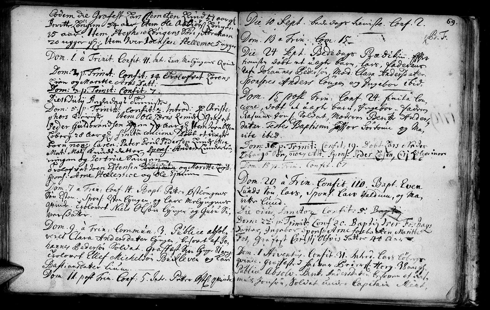 SAT, Ministerialprotokoller, klokkerbøker og fødselsregistre - Sør-Trøndelag, 692/L1101: Ministerialbok nr. 692A01, 1690-1746, s. 69