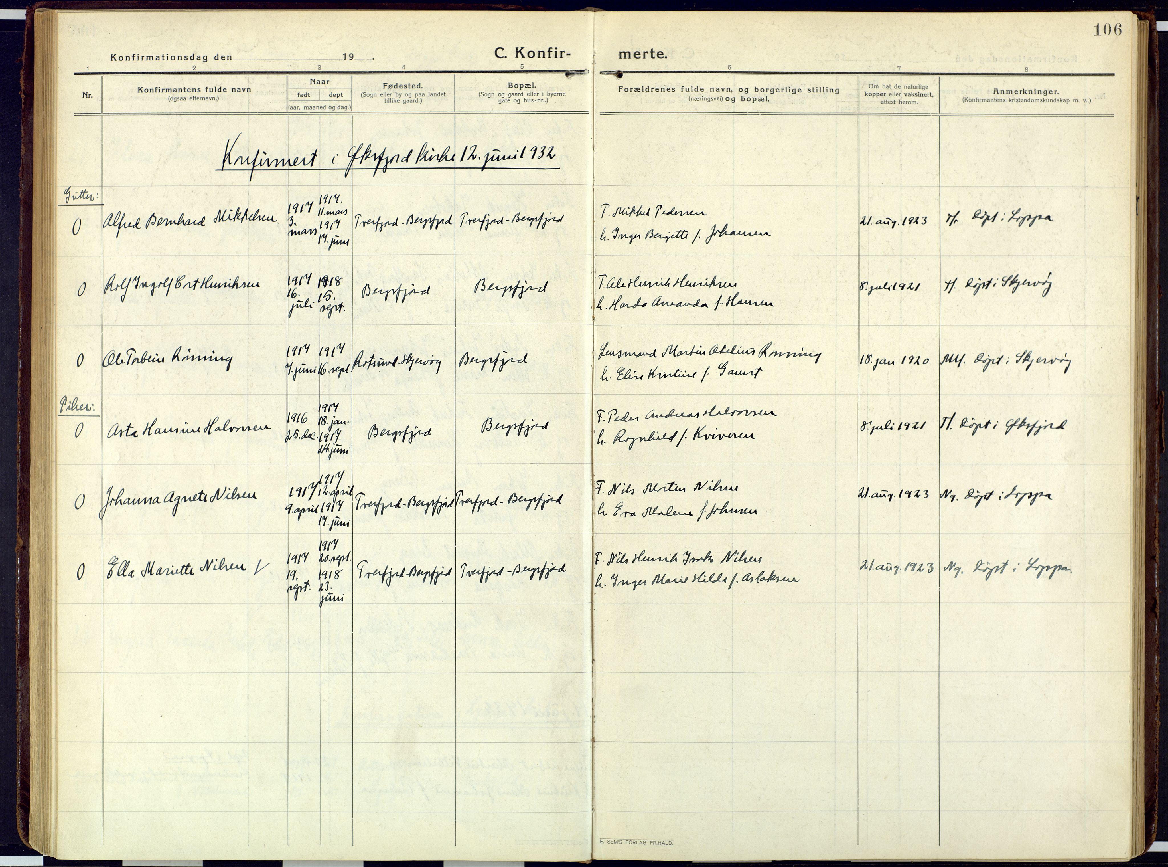 SATØ, Loppa sokneprestkontor, H/Ha/L0013kirke: Ministerialbok nr. 13, 1920-1932, s. 106