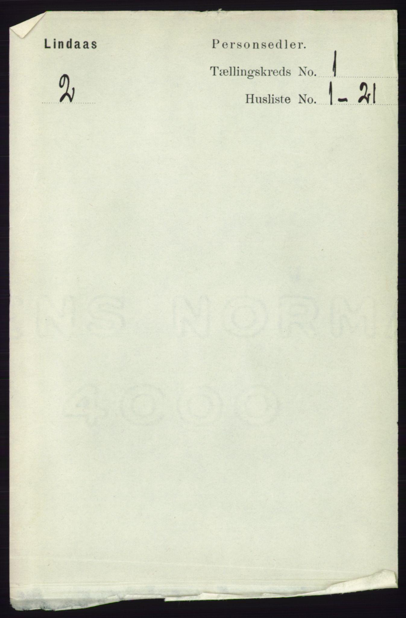 RA, Folketelling 1891 for 1263 Lindås herred, 1891, s. 91