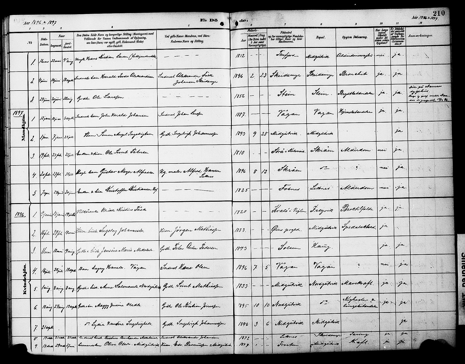 SAT, Ministerialprotokoller, klokkerbøker og fødselsregistre - Nord-Trøndelag, 788/L0701: Klokkerbok nr. 788C01, 1888-1913, s. 210