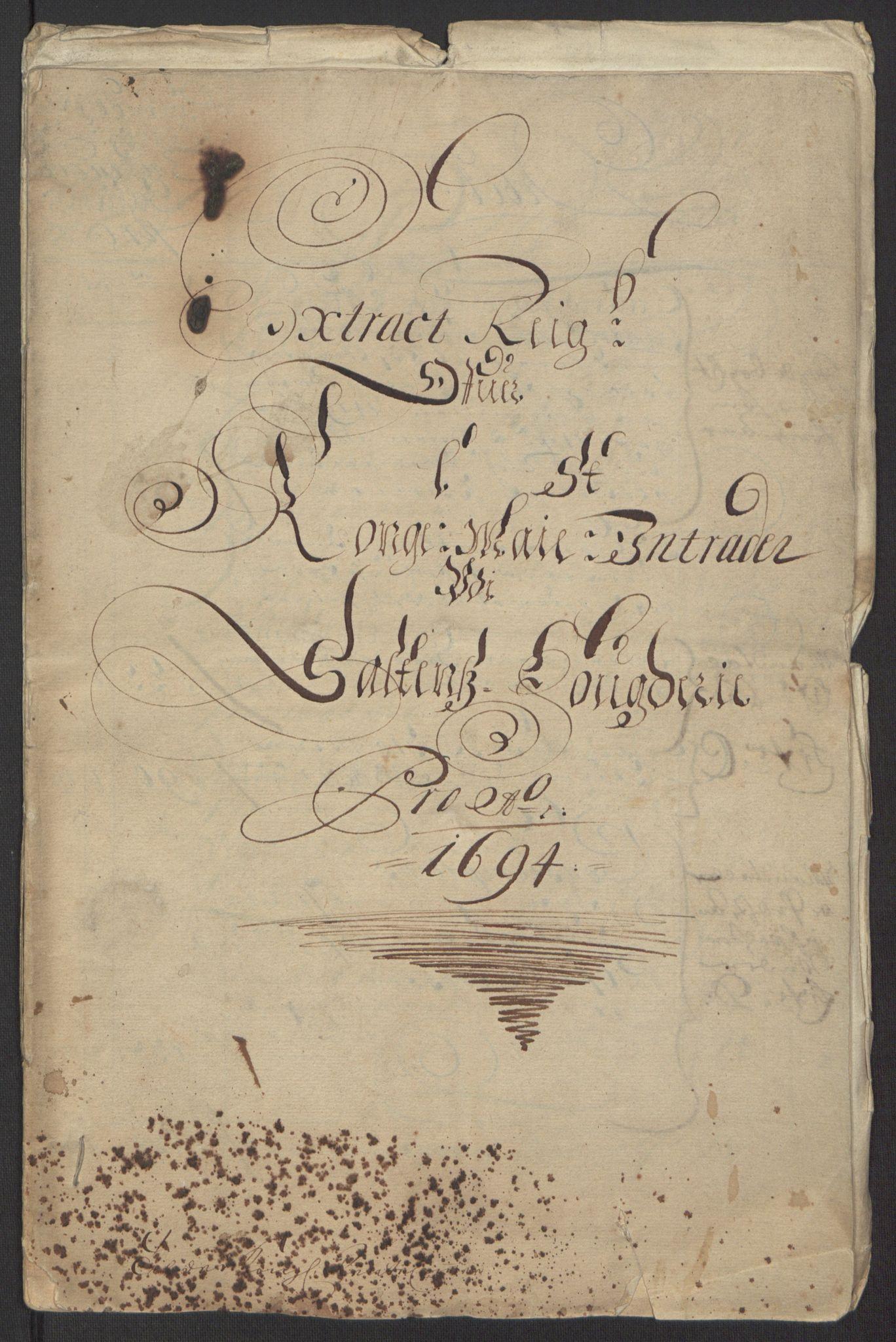 RA, Rentekammeret inntil 1814, Reviderte regnskaper, Fogderegnskap, R66/L4578: Fogderegnskap Salten, 1694-1696, s. 5