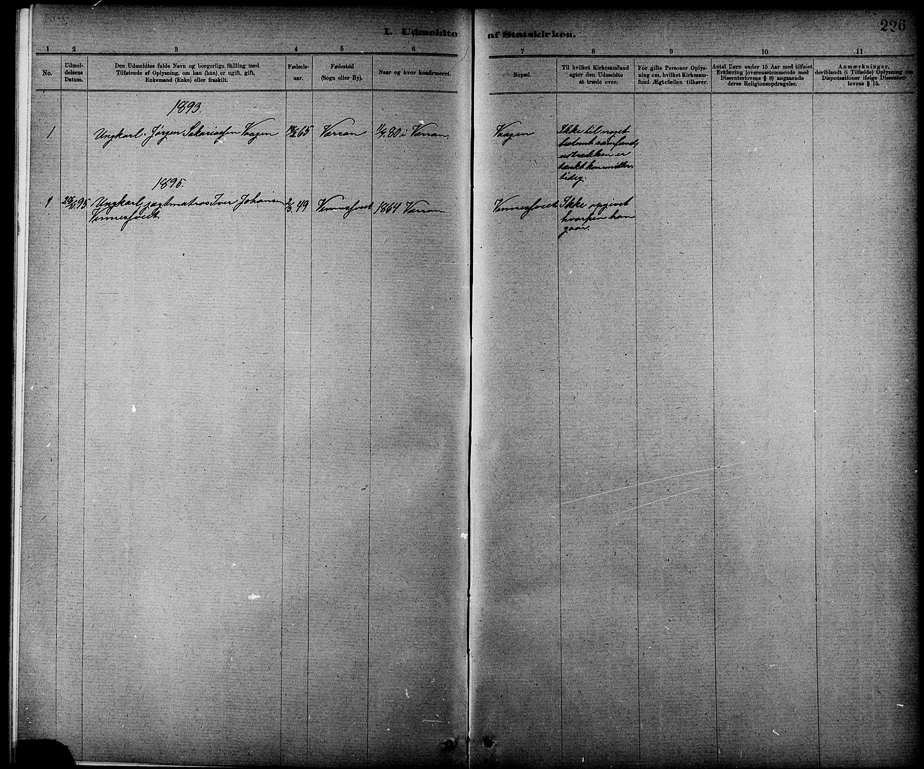SAT, Ministerialprotokoller, klokkerbøker og fødselsregistre - Nord-Trøndelag, 744/L0423: Klokkerbok nr. 744C02, 1886-1905, s. 226