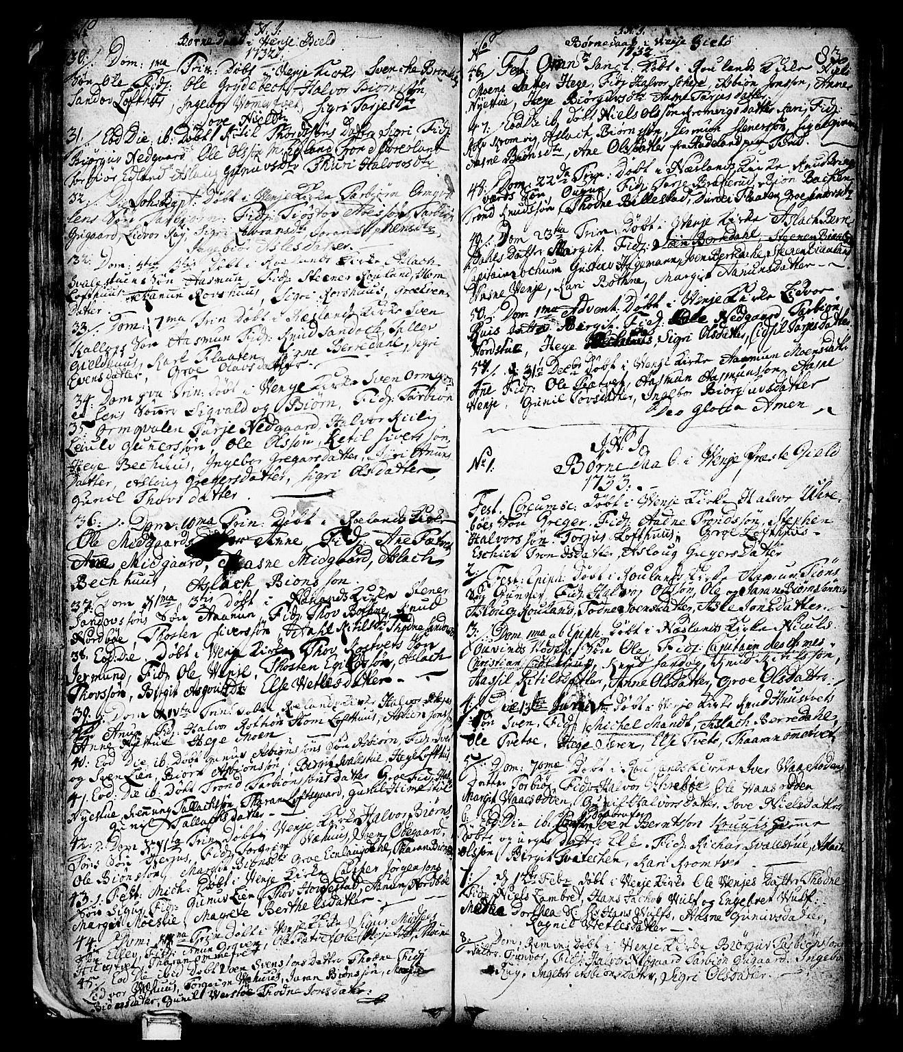 SAKO, Vinje kirkebøker, F/Fa/L0001: Ministerialbok nr. I 1, 1717-1766, s. 83