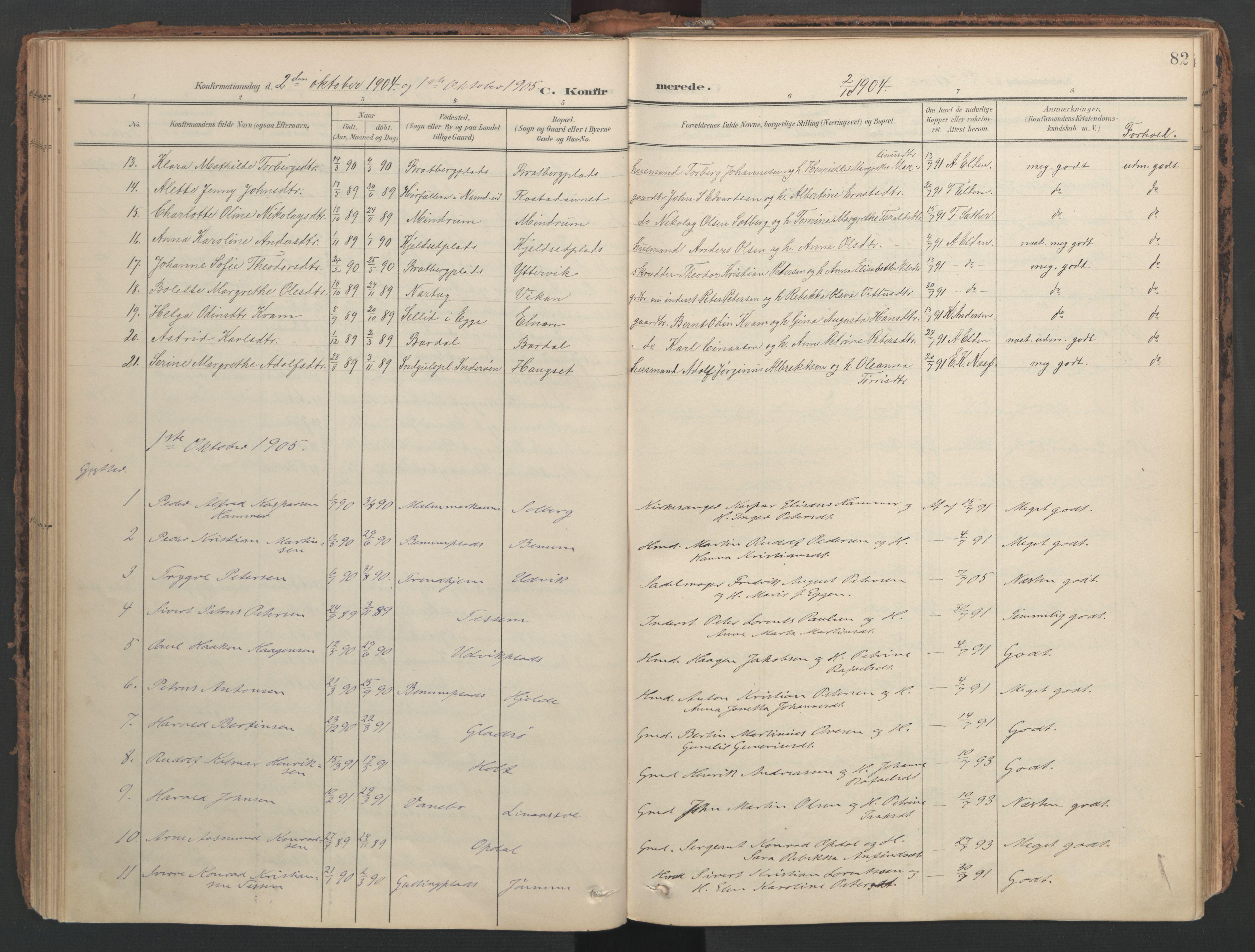 SAT, Ministerialprotokoller, klokkerbøker og fødselsregistre - Nord-Trøndelag, 741/L0397: Ministerialbok nr. 741A11, 1901-1911, s. 82