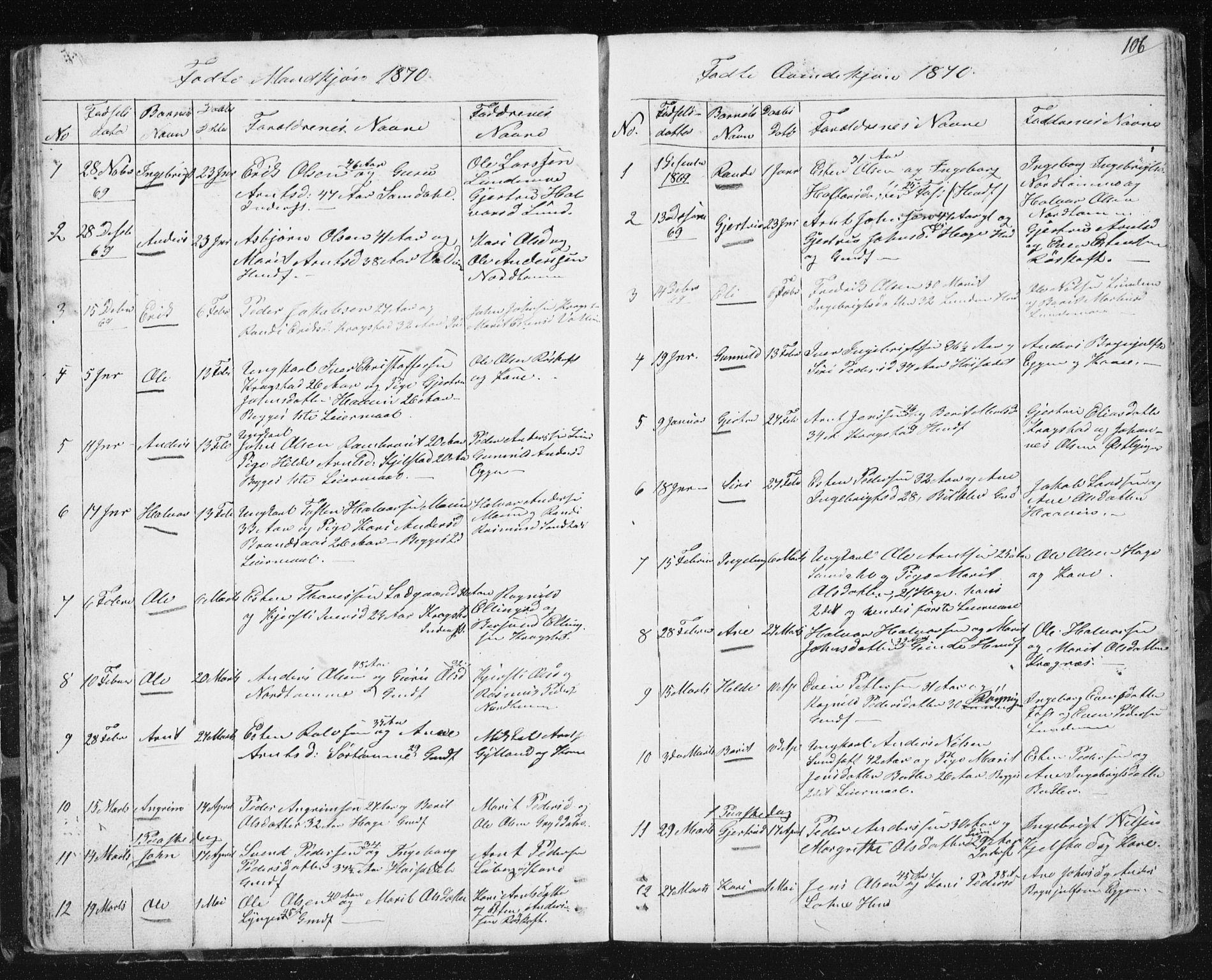 SAT, Ministerialprotokoller, klokkerbøker og fødselsregistre - Sør-Trøndelag, 692/L1110: Klokkerbok nr. 692C05, 1849-1889, s. 106