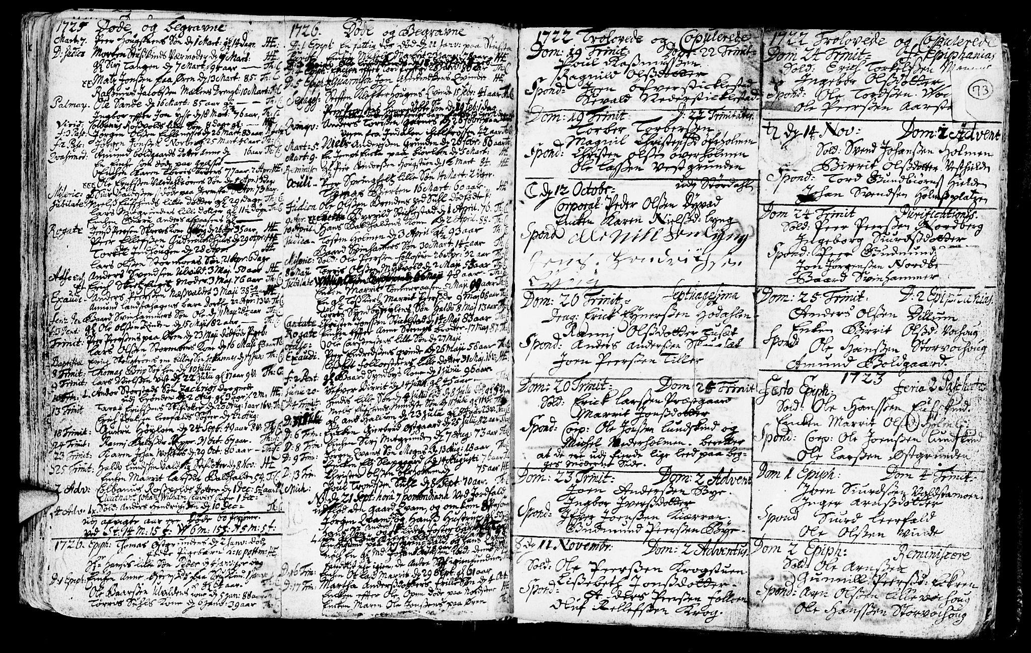 SAT, Ministerialprotokoller, klokkerbøker og fødselsregistre - Nord-Trøndelag, 723/L0230: Ministerialbok nr. 723A01, 1705-1747, s. 73
