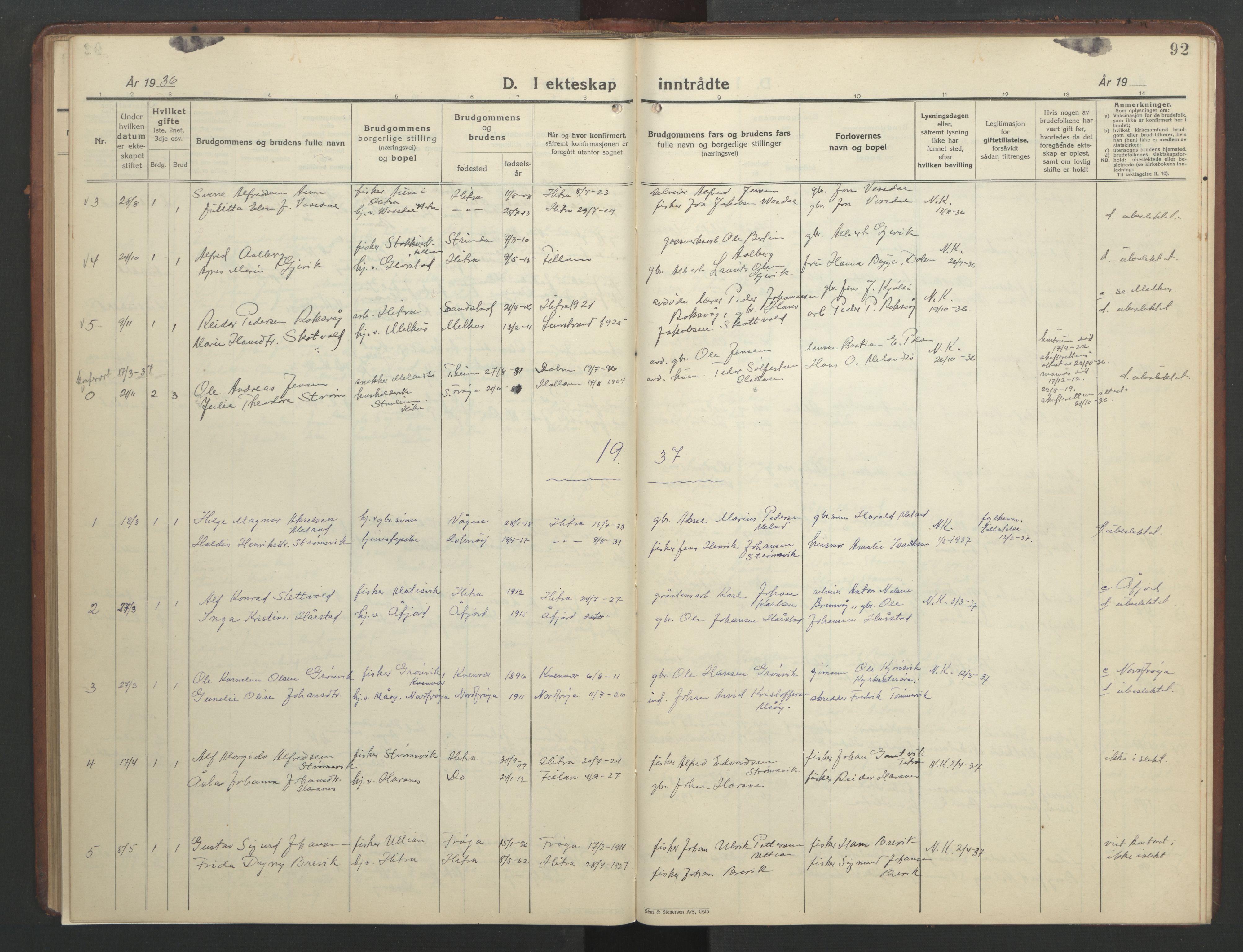 SAT, Ministerialprotokoller, klokkerbøker og fødselsregistre - Sør-Trøndelag, 634/L0544: Klokkerbok nr. 634C06, 1927-1948, s. 92