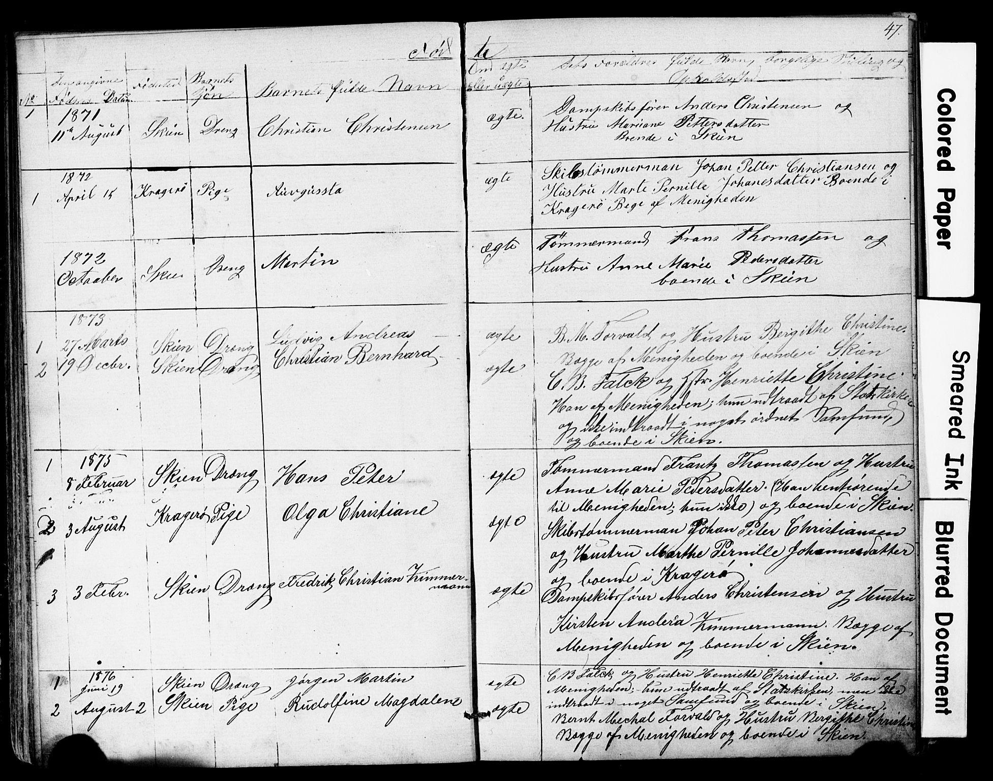 SAKO, Den frie apostolisk-kristelige menighet i Skien, F/Fa/L0001: Dissenterprotokoll nr. 1, 1856-1892, s. 47