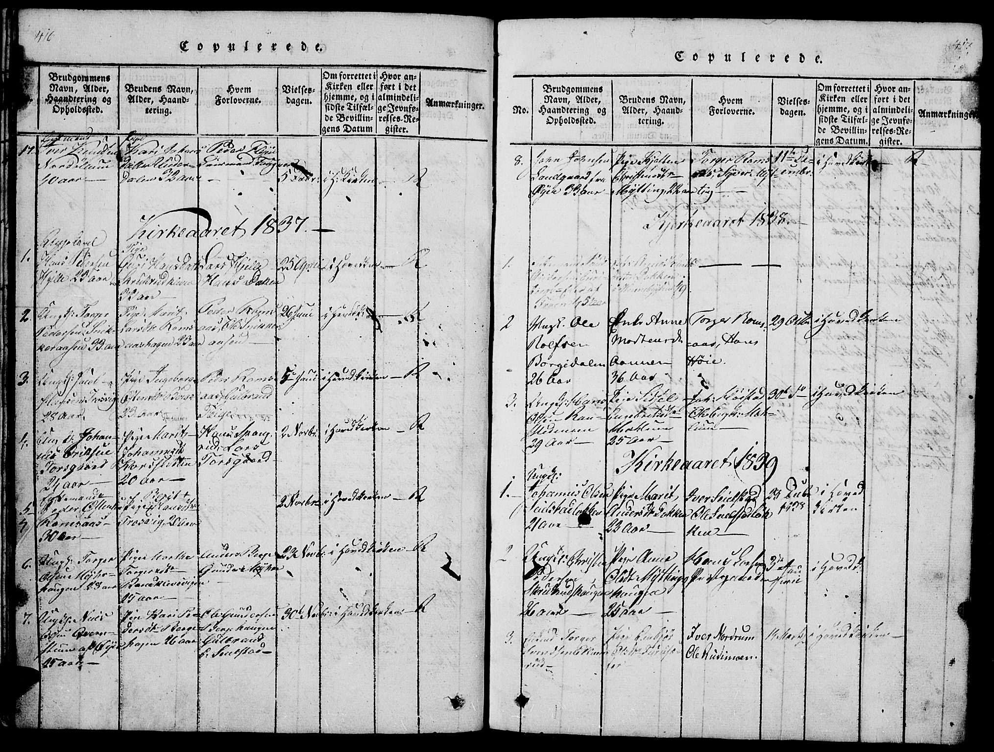 SAH, Ringebu prestekontor, Klokkerbok nr. 1, 1821-1839, s. 416-417