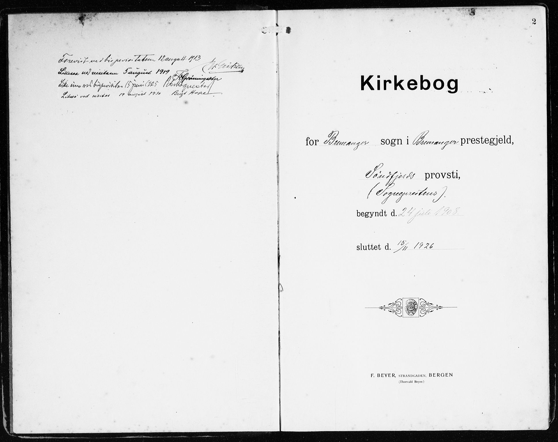 SAB, Bremanger Sokneprestembete, H/Haa: Ministerialbok nr. B 3, 1908-1925, s. 2