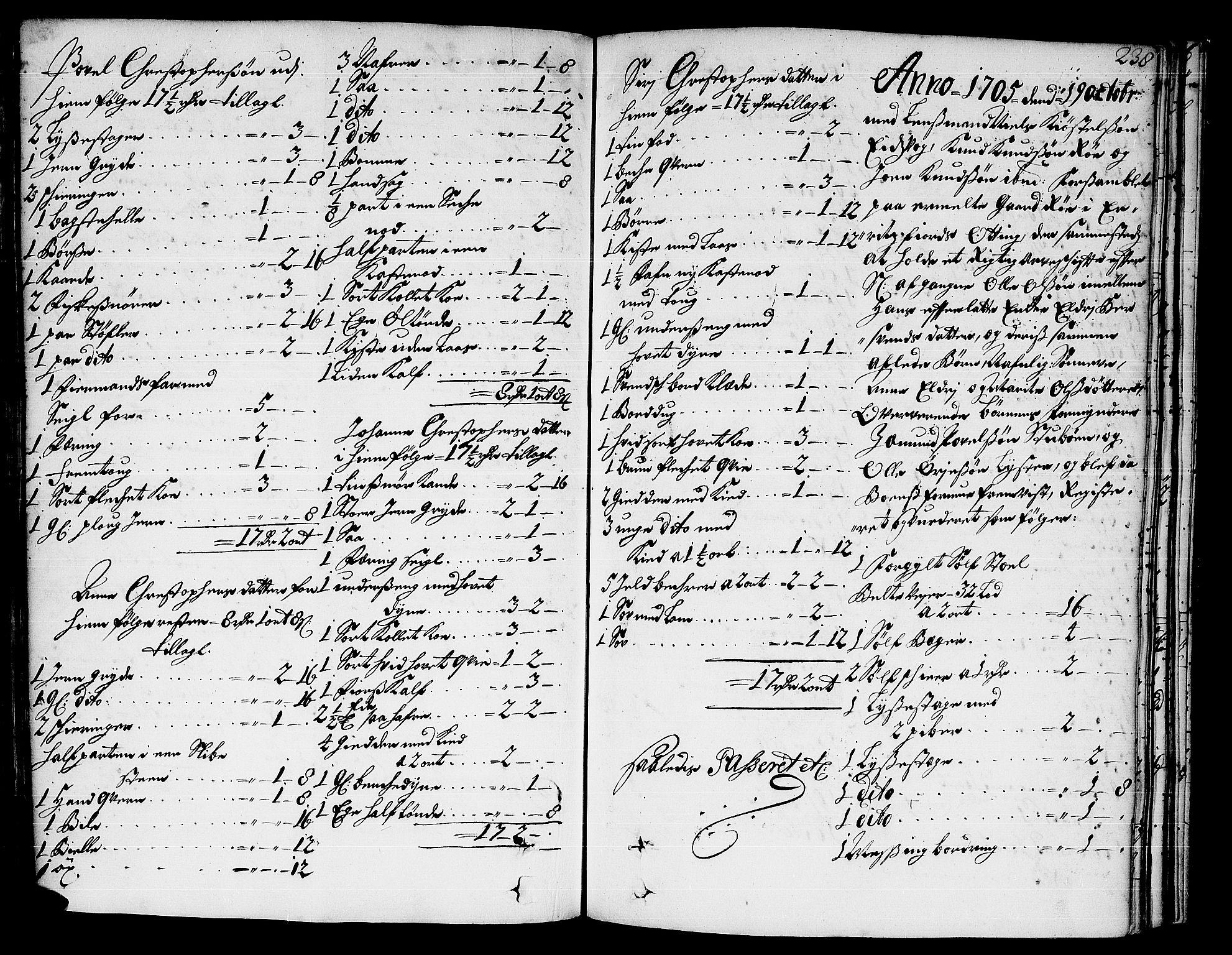 SAT, Romsdal sorenskriveri, 3/3A/L0004: Skifteprotokoll, 1702-1706, s. 237b-238a