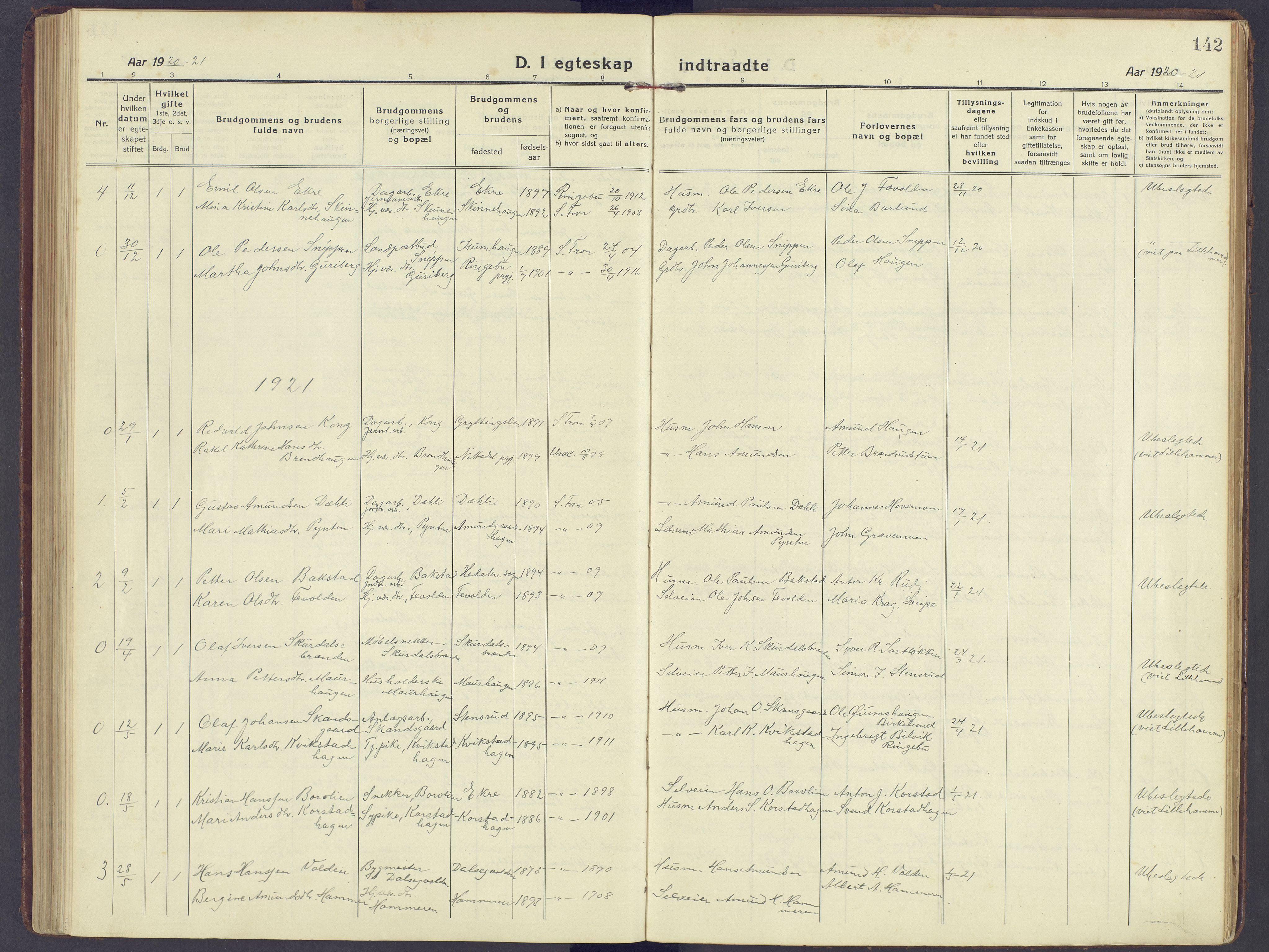 SAH, Sør-Fron prestekontor, H/Ha/Haa/L0005: Ministerialbok nr. 5, 1920-1933, s. 142