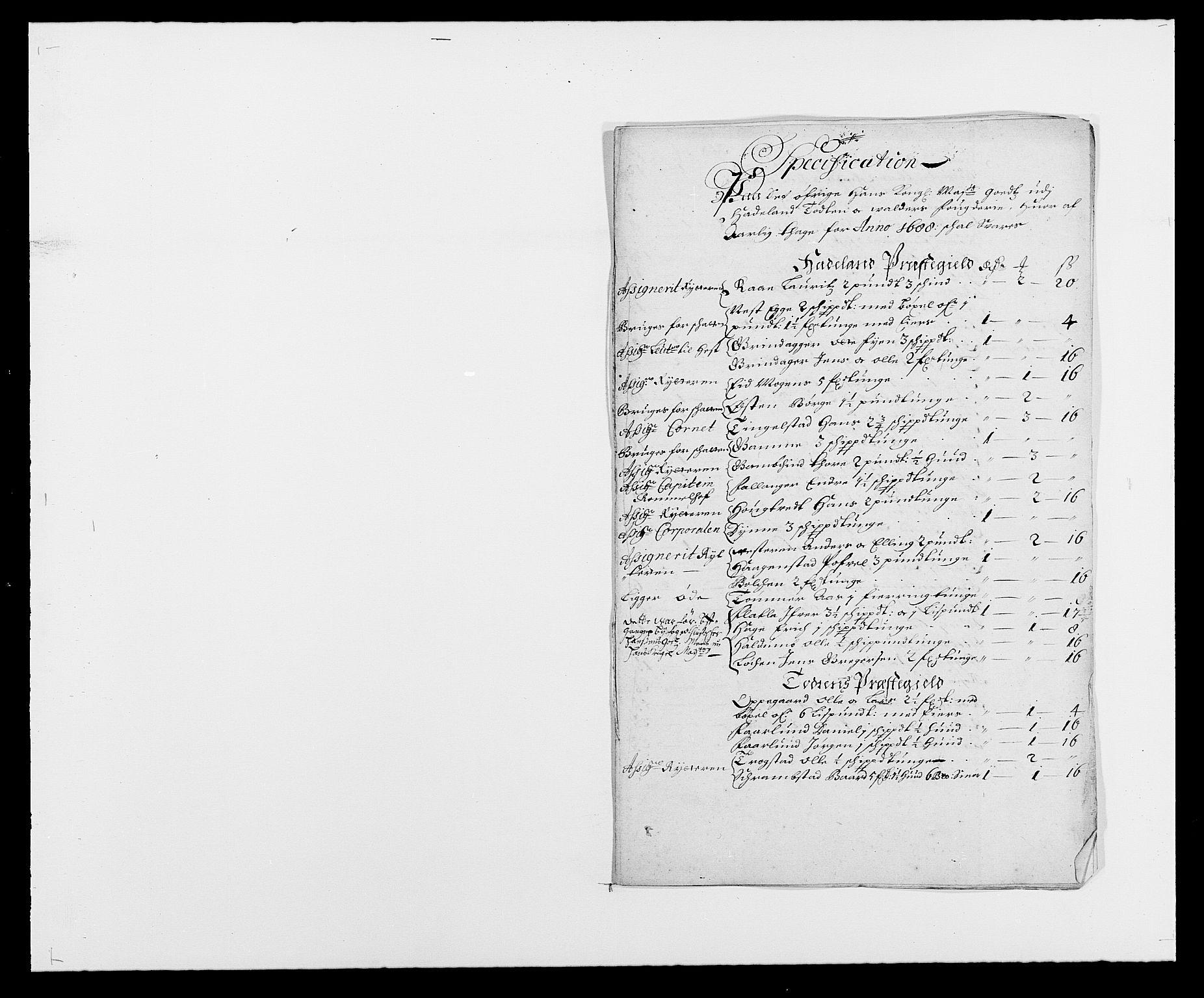 RA, Rentekammeret inntil 1814, Reviderte regnskaper, Fogderegnskap, R18/L1287: Fogderegnskap Hadeland, Toten og Valdres, 1688, s. 207