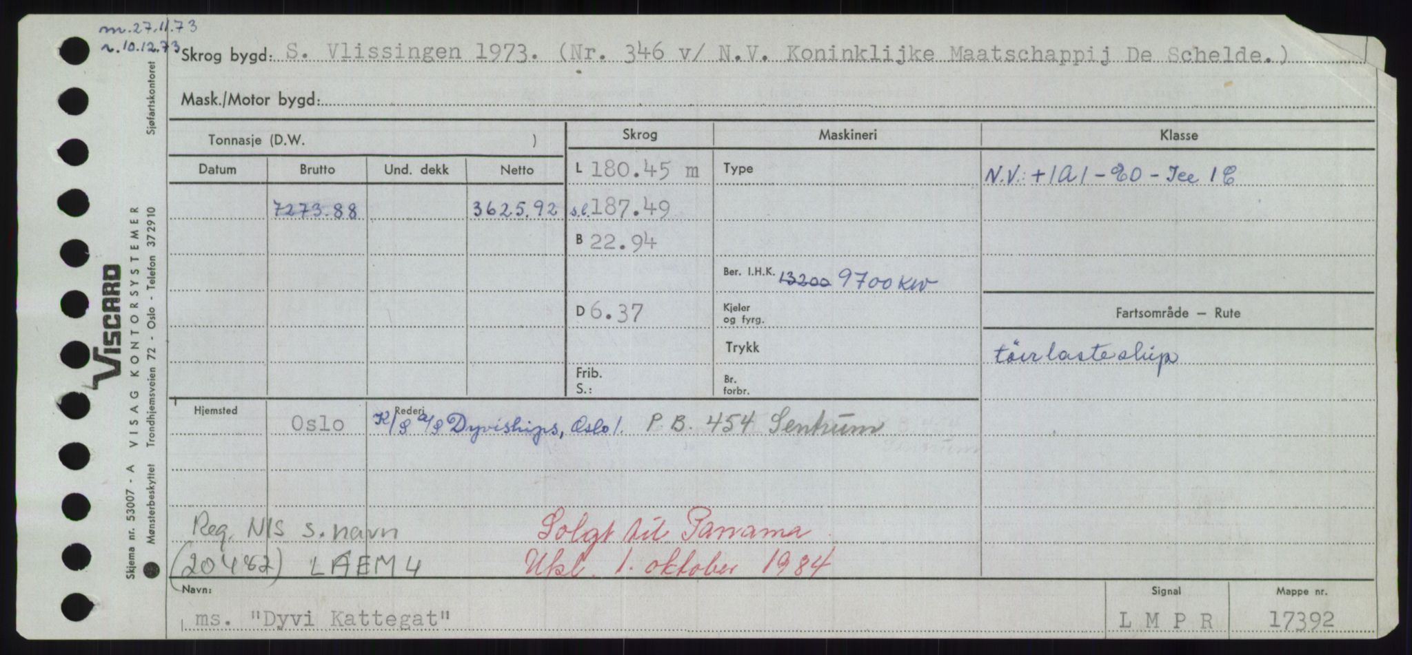 RA, Sjøfartsdirektoratet med forløpere, Skipsmålingen, H/Hd/L0008: Fartøy, C-D, s. 739