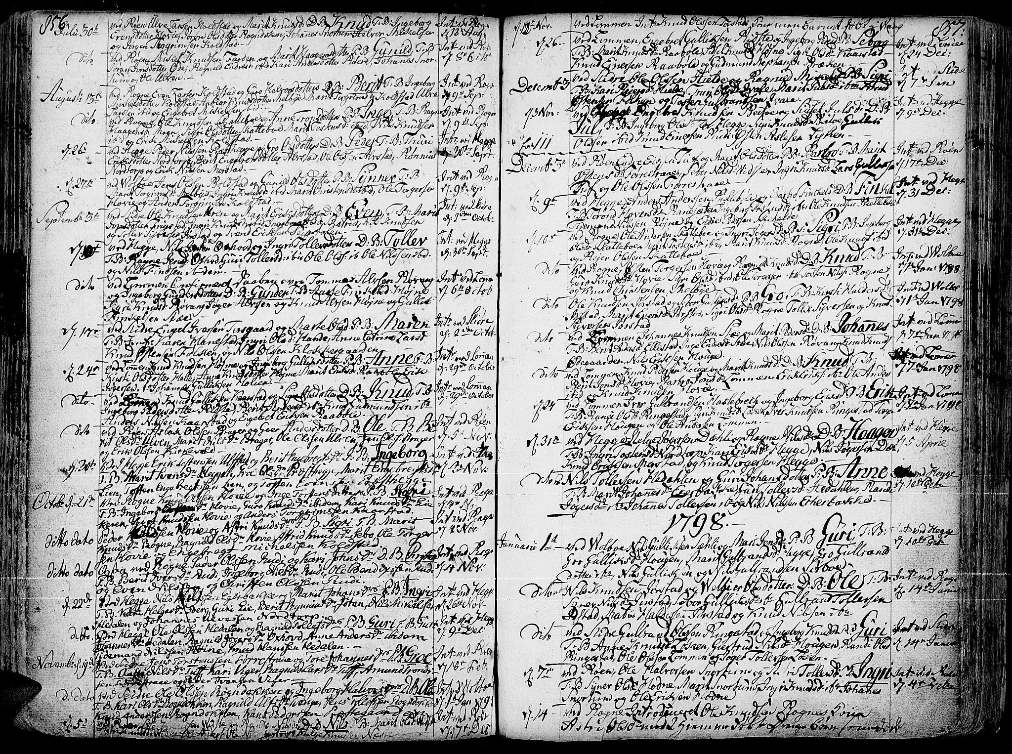 SAH, Slidre prestekontor, Ministerialbok nr. 1, 1724-1814, s. 856-857