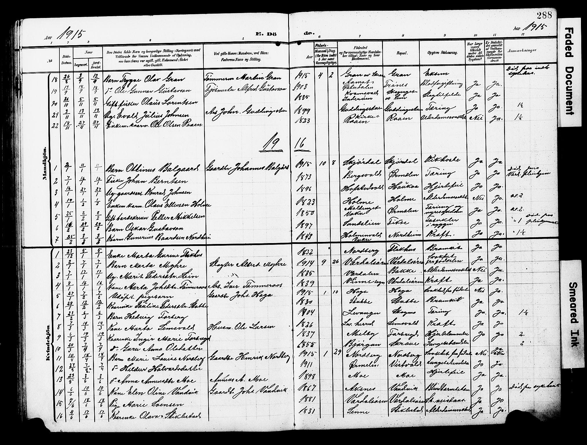 SAT, Ministerialprotokoller, klokkerbøker og fødselsregistre - Nord-Trøndelag, 723/L0258: Klokkerbok nr. 723C06, 1908-1927, s. 288