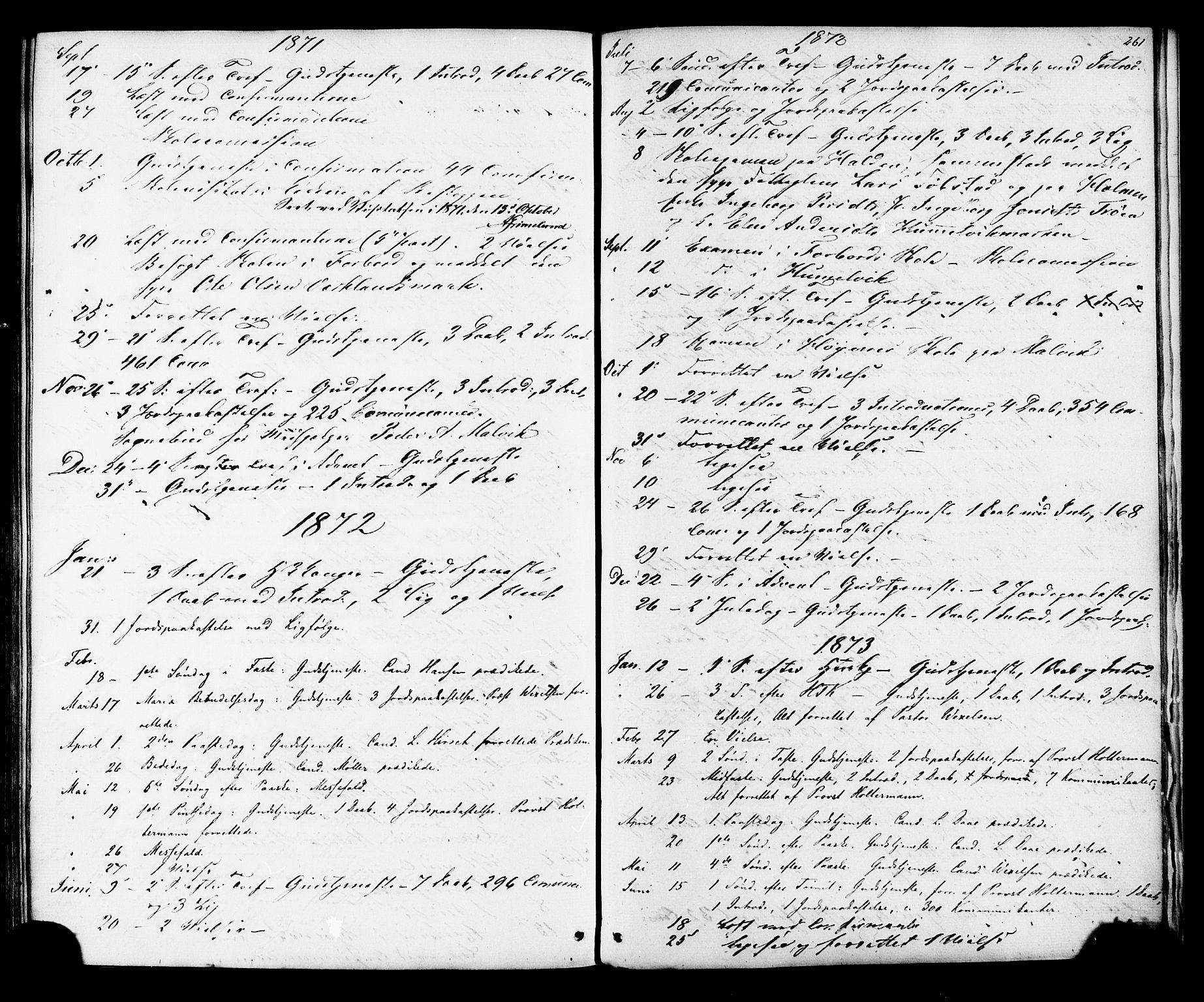 SAT, Ministerialprotokoller, klokkerbøker og fødselsregistre - Sør-Trøndelag, 616/L0409: Ministerialbok nr. 616A06, 1865-1877, s. 261
