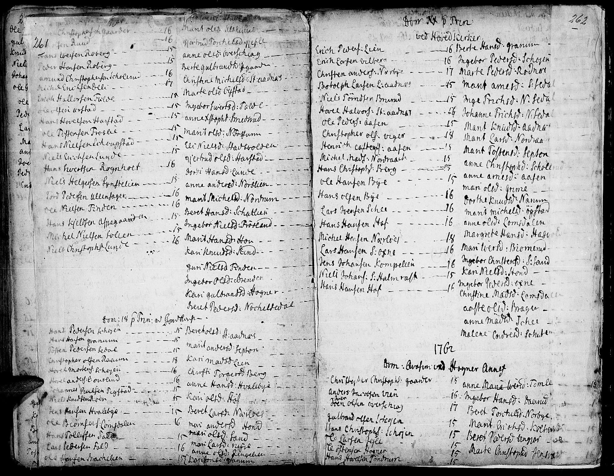 SAH, Land prestekontor, Ministerialbok nr. 2, 1733-1764, s. 261-262
