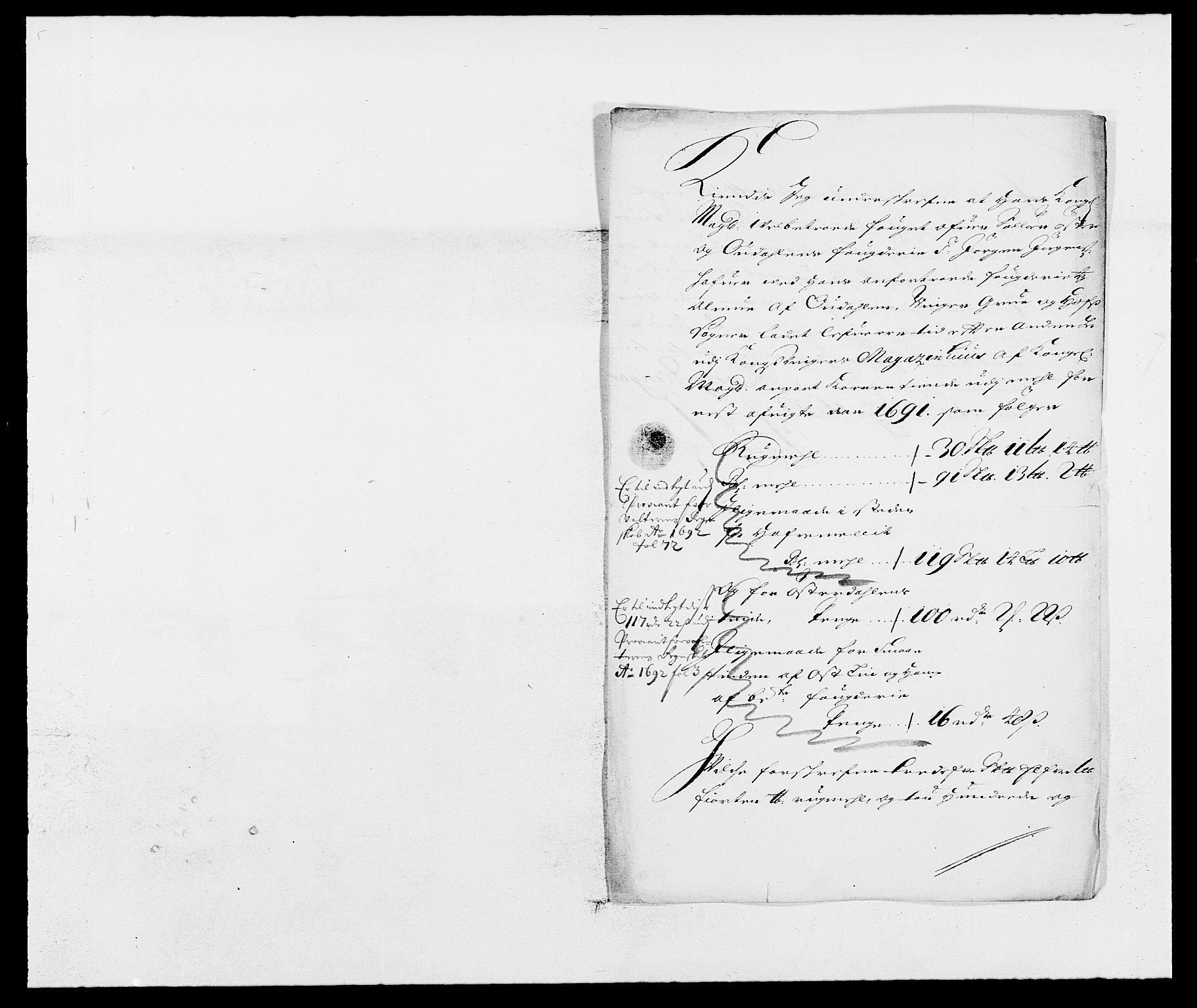 RA, Rentekammeret inntil 1814, Reviderte regnskaper, Fogderegnskap, R13/L0829: Fogderegnskap Solør, Odal og Østerdal, 1691, s. 121