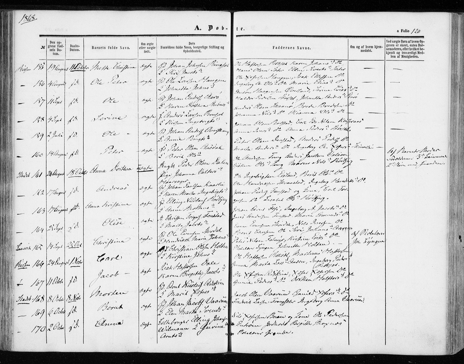 SAT, Ministerialprotokoller, klokkerbøker og fødselsregistre - Sør-Trøndelag, 646/L0612: Ministerialbok nr. 646A10, 1858-1869, s. 120