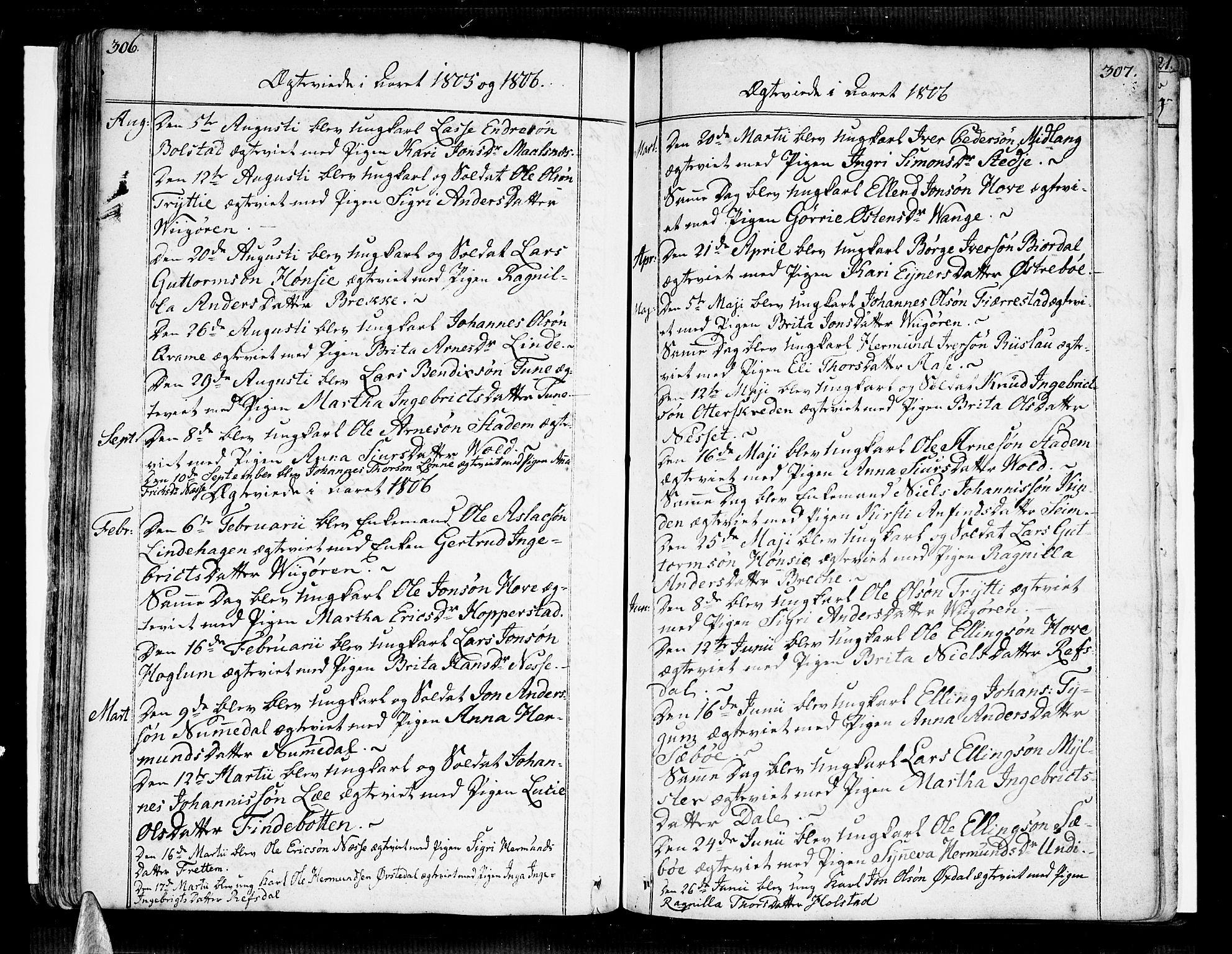 SAB, Vik Sokneprestembete, Ministerialbok nr. A 5, 1787-1820, s. 306-307