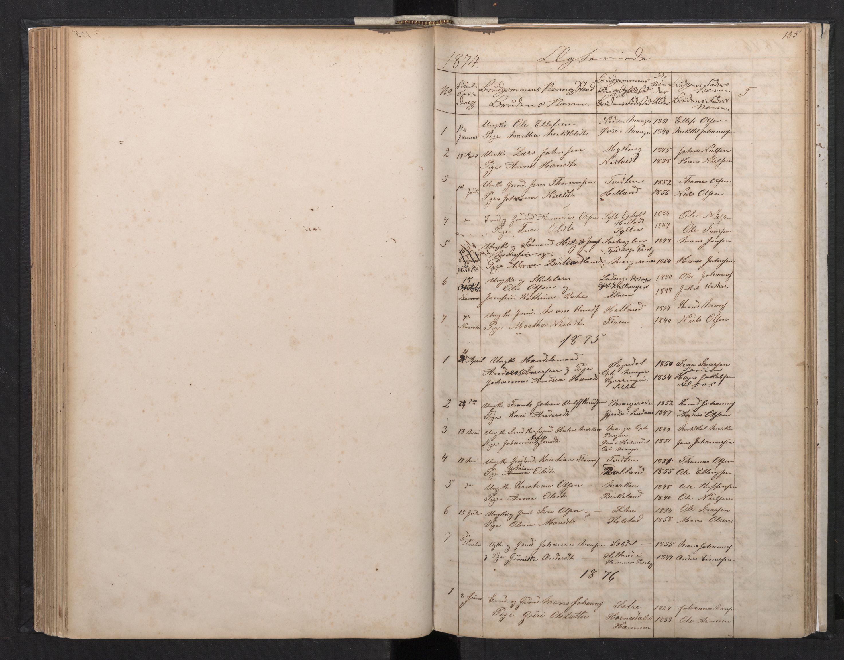 SAB, Manger sokneprestembete, H/Hab: Klokkerbok nr. A 1, 1874-1901, s. 134b-135a