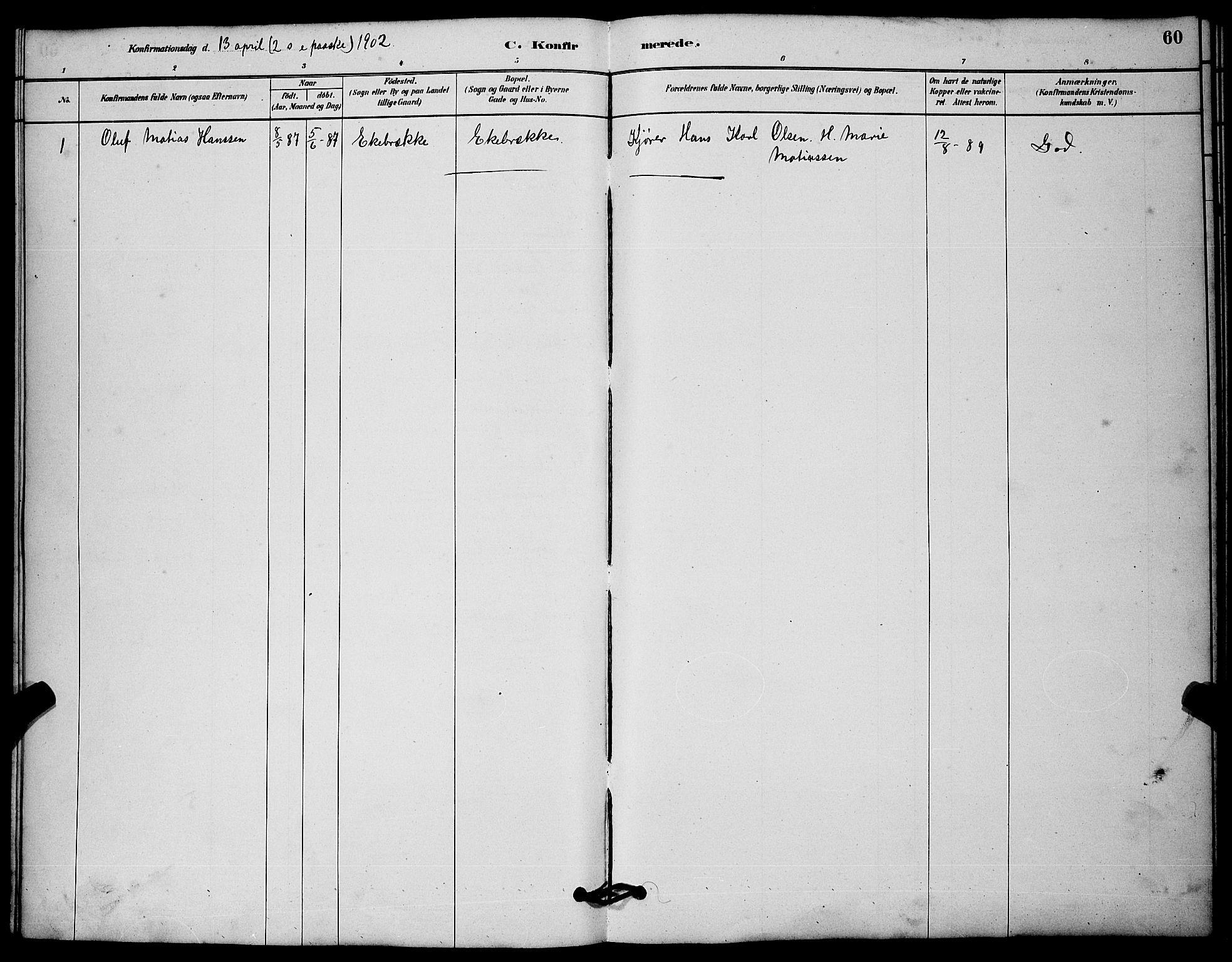 SAKO, Solum kirkebøker, G/Gc/L0001: Klokkerbok nr. III 1, 1880-1902, s. 60
