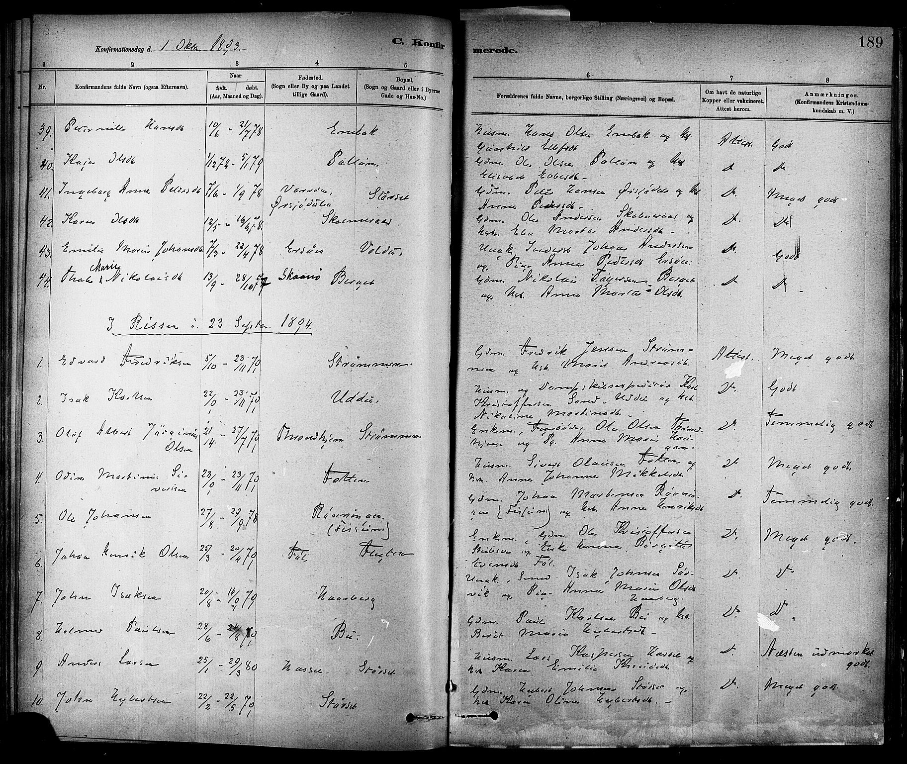 SAT, Ministerialprotokoller, klokkerbøker og fødselsregistre - Sør-Trøndelag, 647/L0634: Ministerialbok nr. 647A01, 1885-1896, s. 189