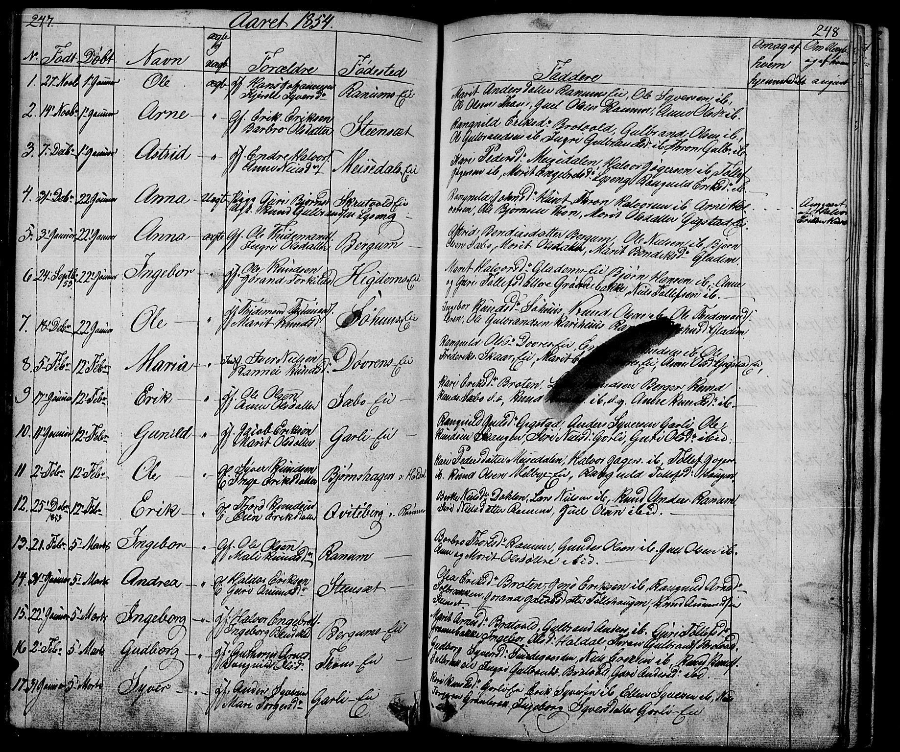 SAH, Nord-Aurdal prestekontor, Klokkerbok nr. 1, 1834-1887, s. 247-248