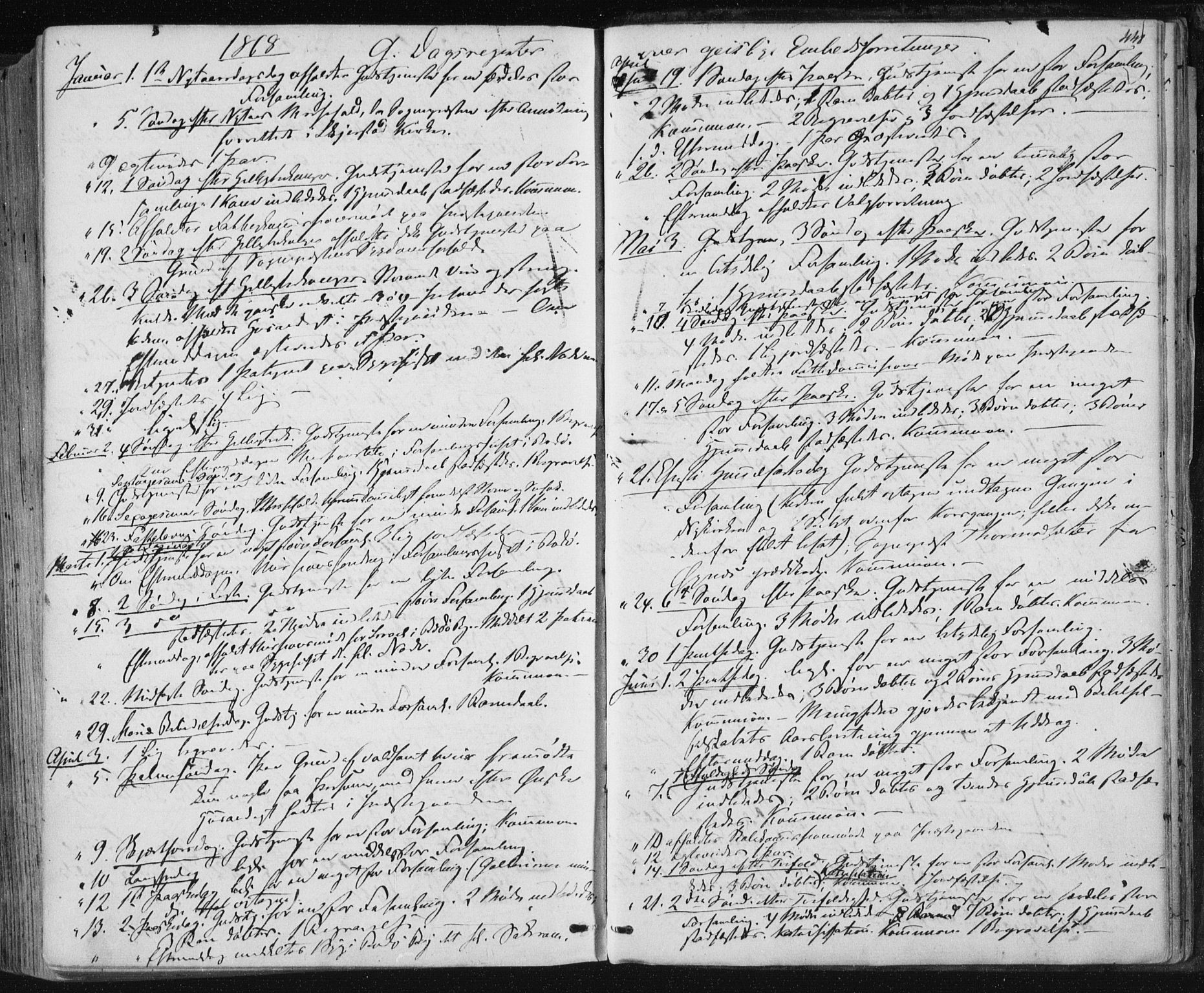 SAT, Ministerialprotokoller, klokkerbøker og fødselsregistre - Nordland, 801/L0008: Ministerialbok nr. 801A08, 1864-1875, s. 448