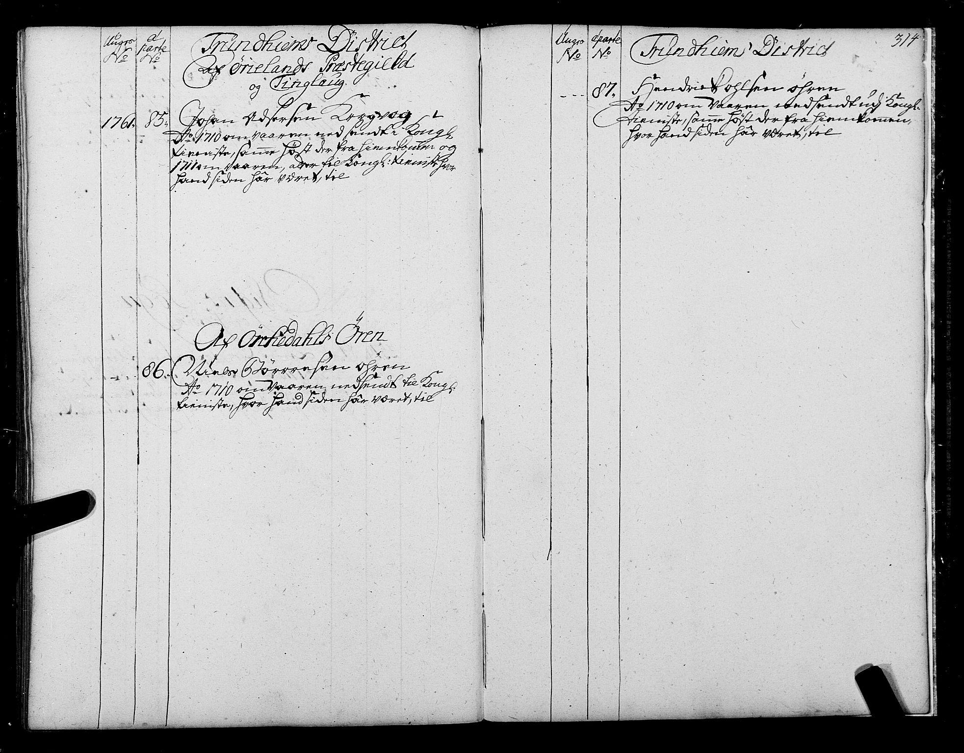 SAT, Sjøinnrulleringen - Trondhjemske distrikt, 01/L0004: Ruller over sjøfolk i Trondhjem by, 1704-1710, s. 314