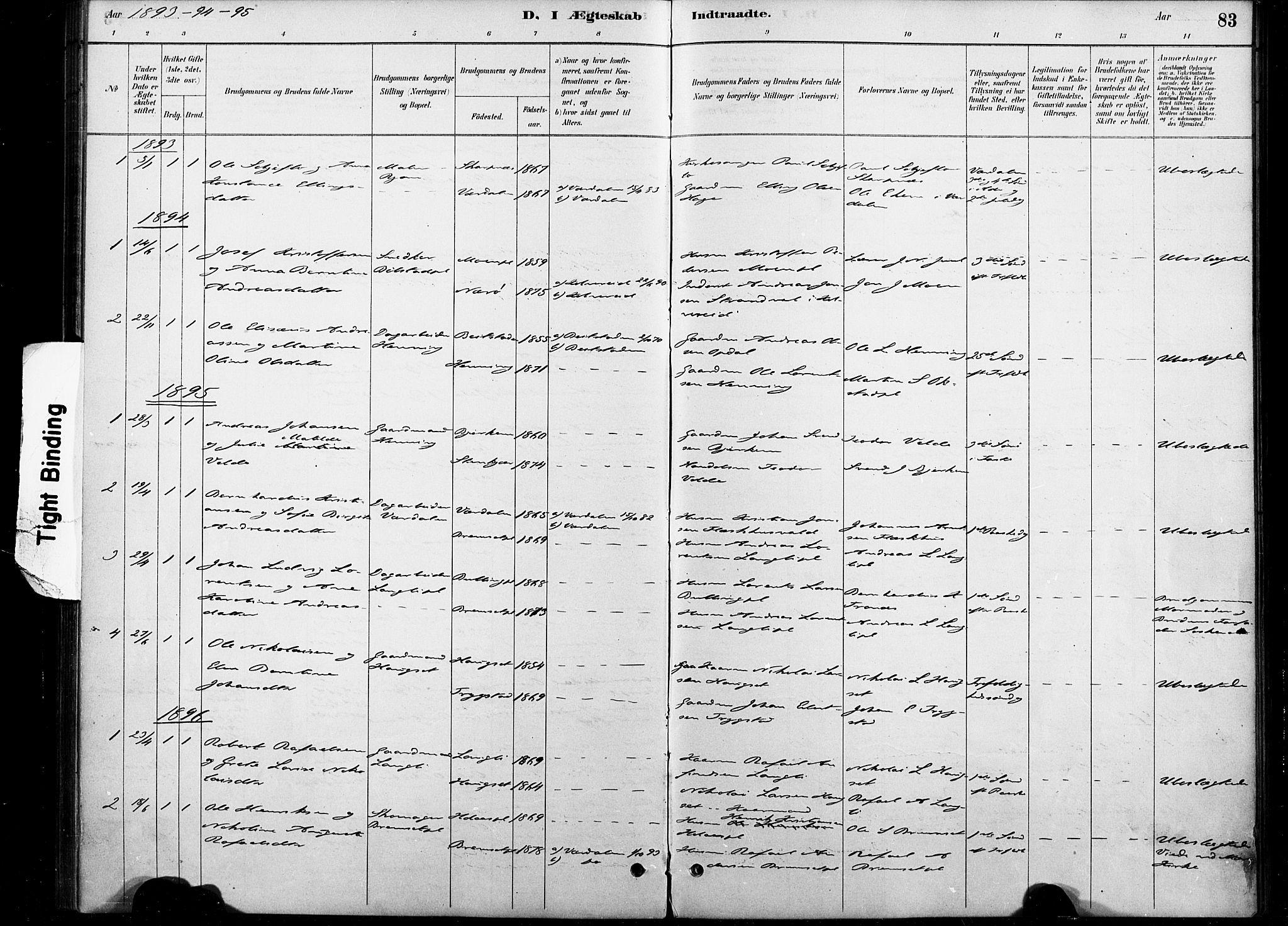 SAT, Ministerialprotokoller, klokkerbøker og fødselsregistre - Nord-Trøndelag, 738/L0364: Ministerialbok nr. 738A01, 1884-1902, s. 83