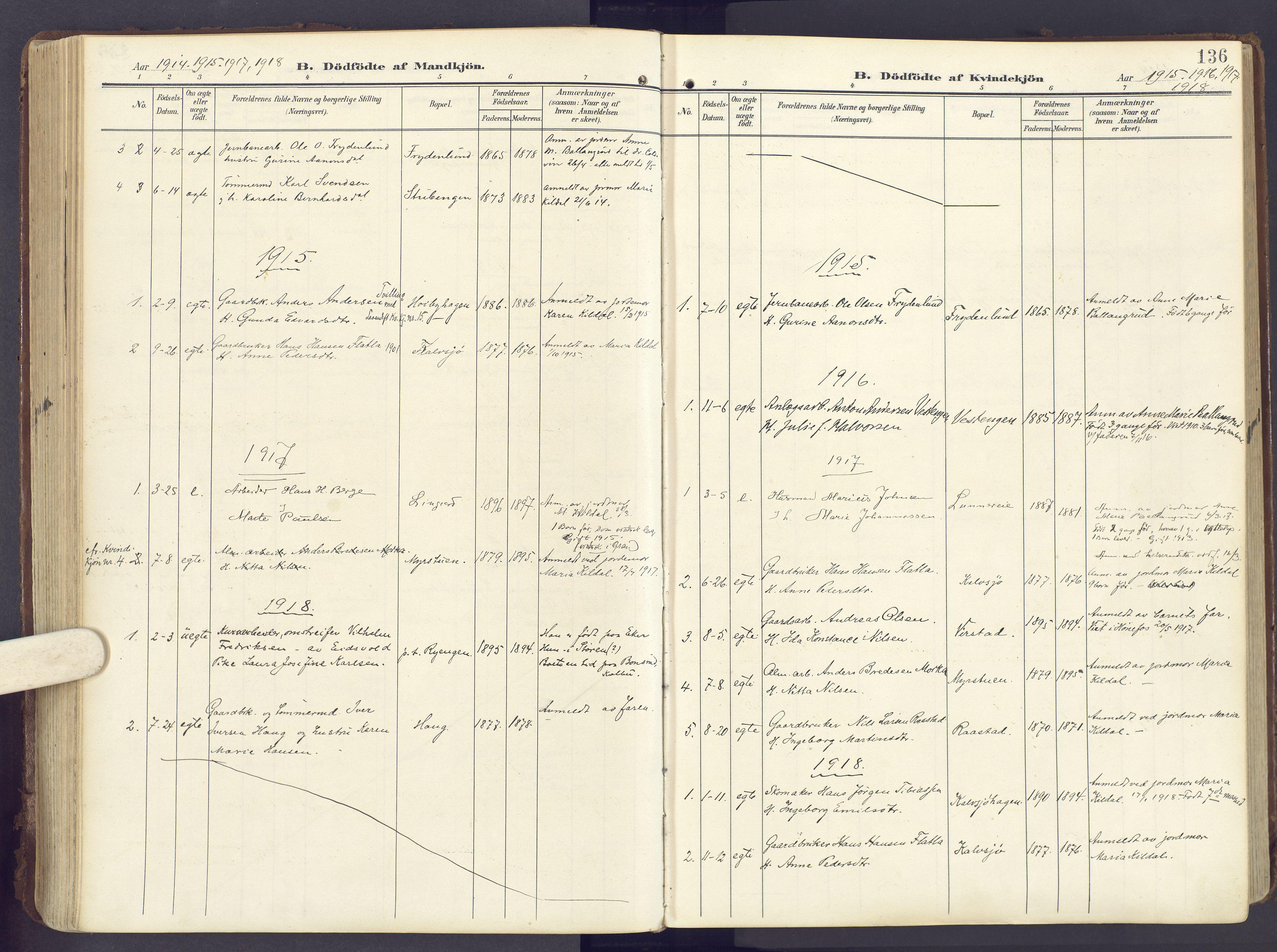 SAH, Lunner prestekontor, H/Ha/Haa/L0001: Ministerialbok nr. 1, 1907-1922, s. 136