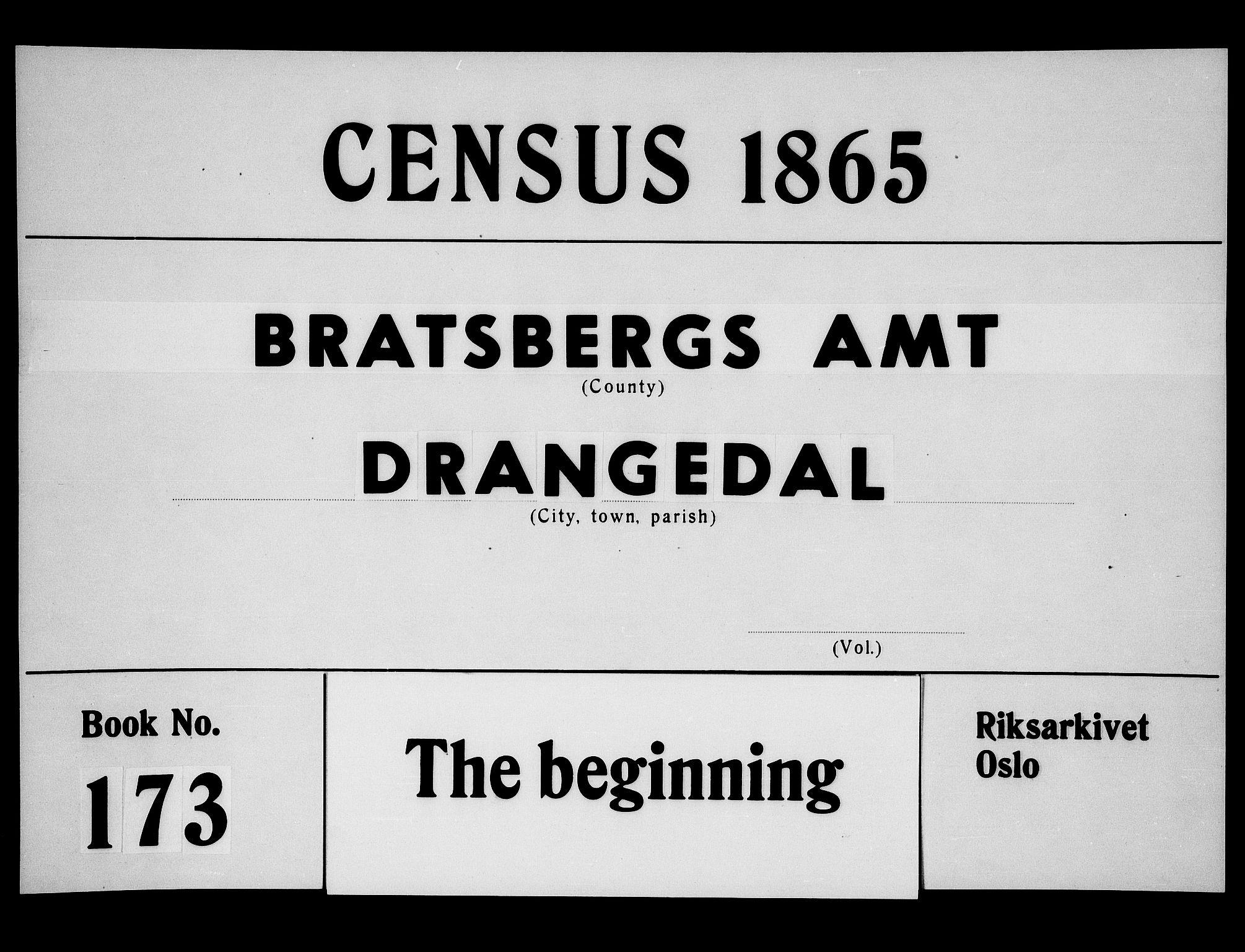 RA, Folketelling 1865 for 0817P Drangedal prestegjeld, 1865, s. 1