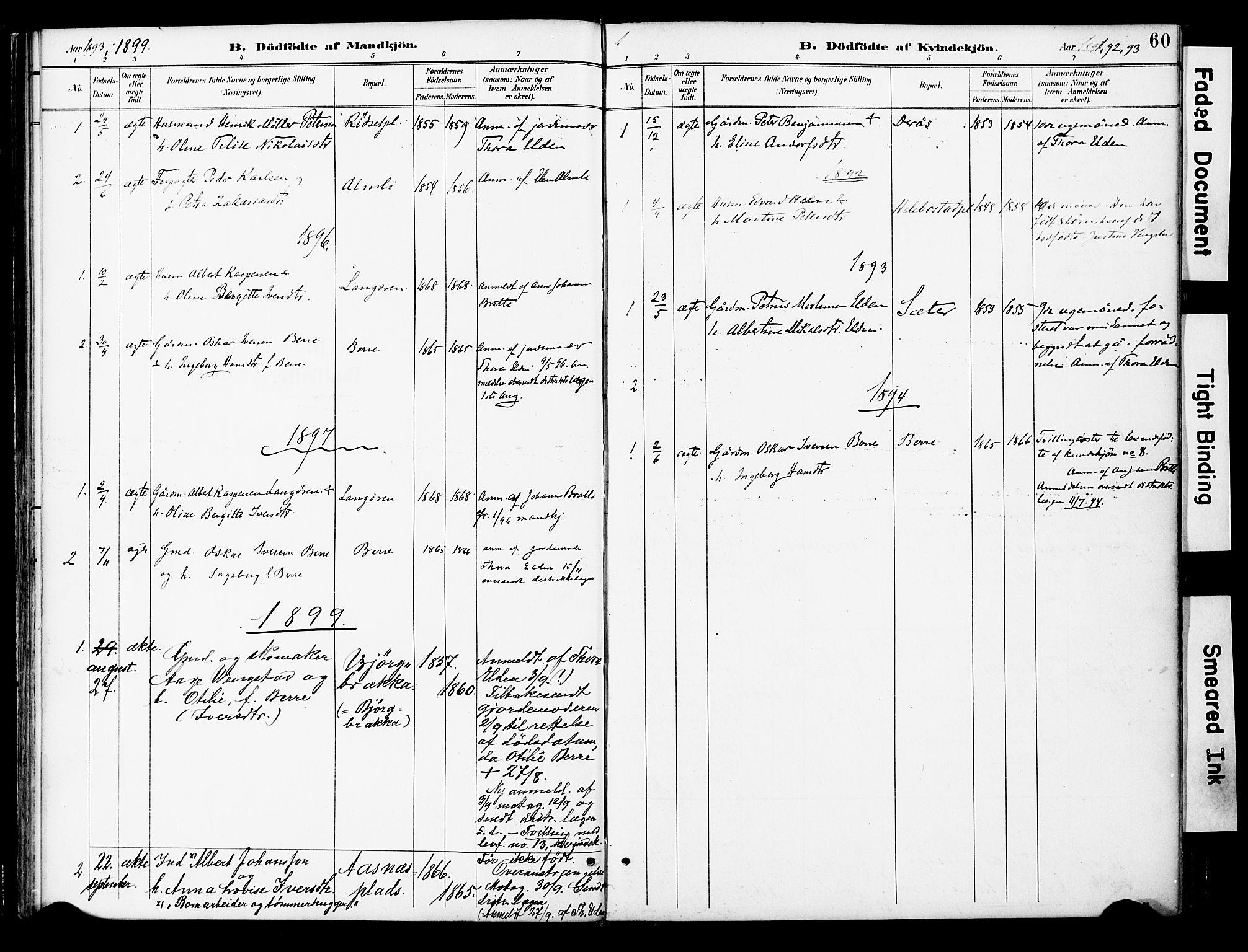 SAT, Ministerialprotokoller, klokkerbøker og fødselsregistre - Nord-Trøndelag, 742/L0409: Ministerialbok nr. 742A02, 1891-1905, s. 60