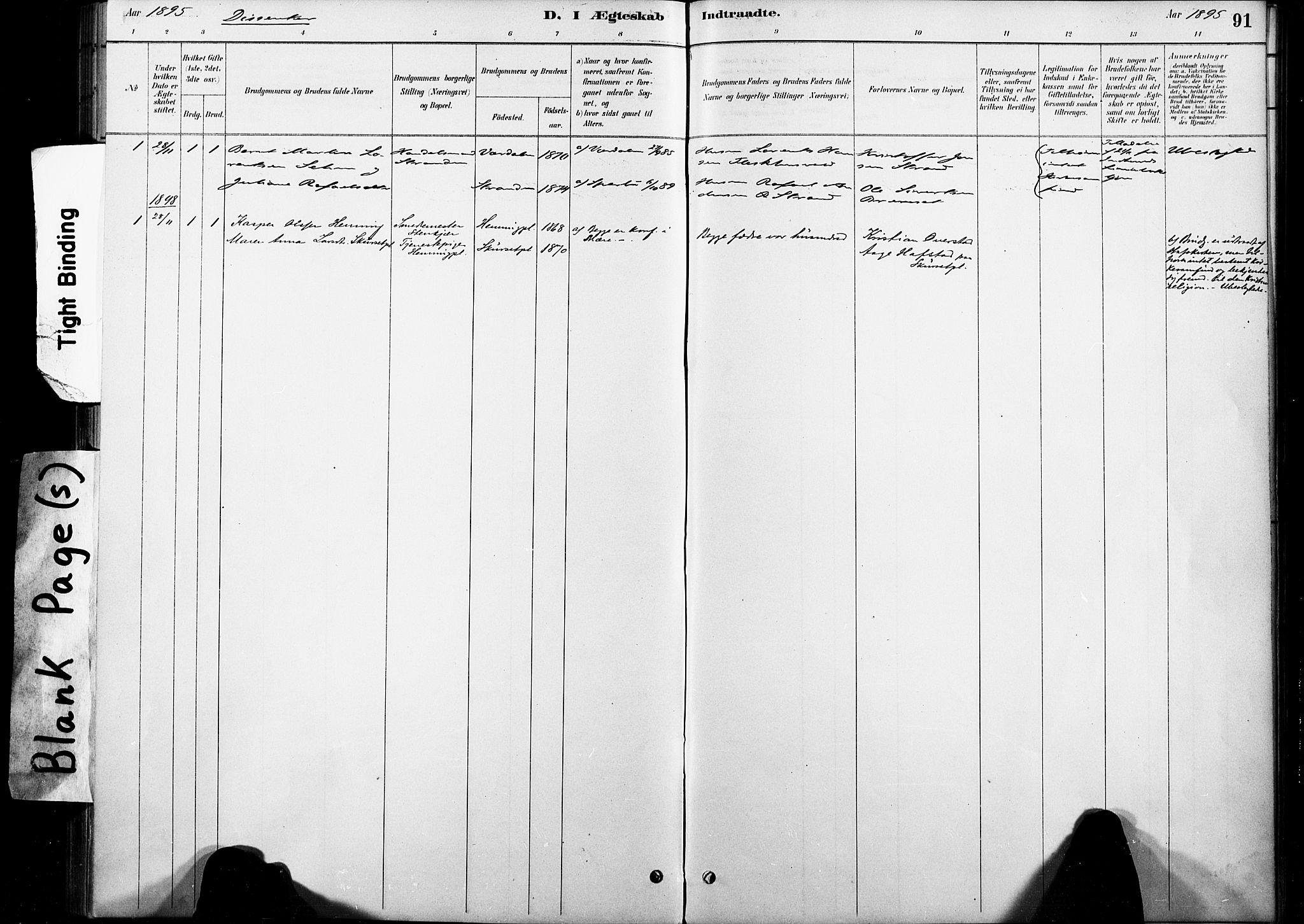 SAT, Ministerialprotokoller, klokkerbøker og fødselsregistre - Nord-Trøndelag, 738/L0364: Ministerialbok nr. 738A01, 1884-1902, s. 91