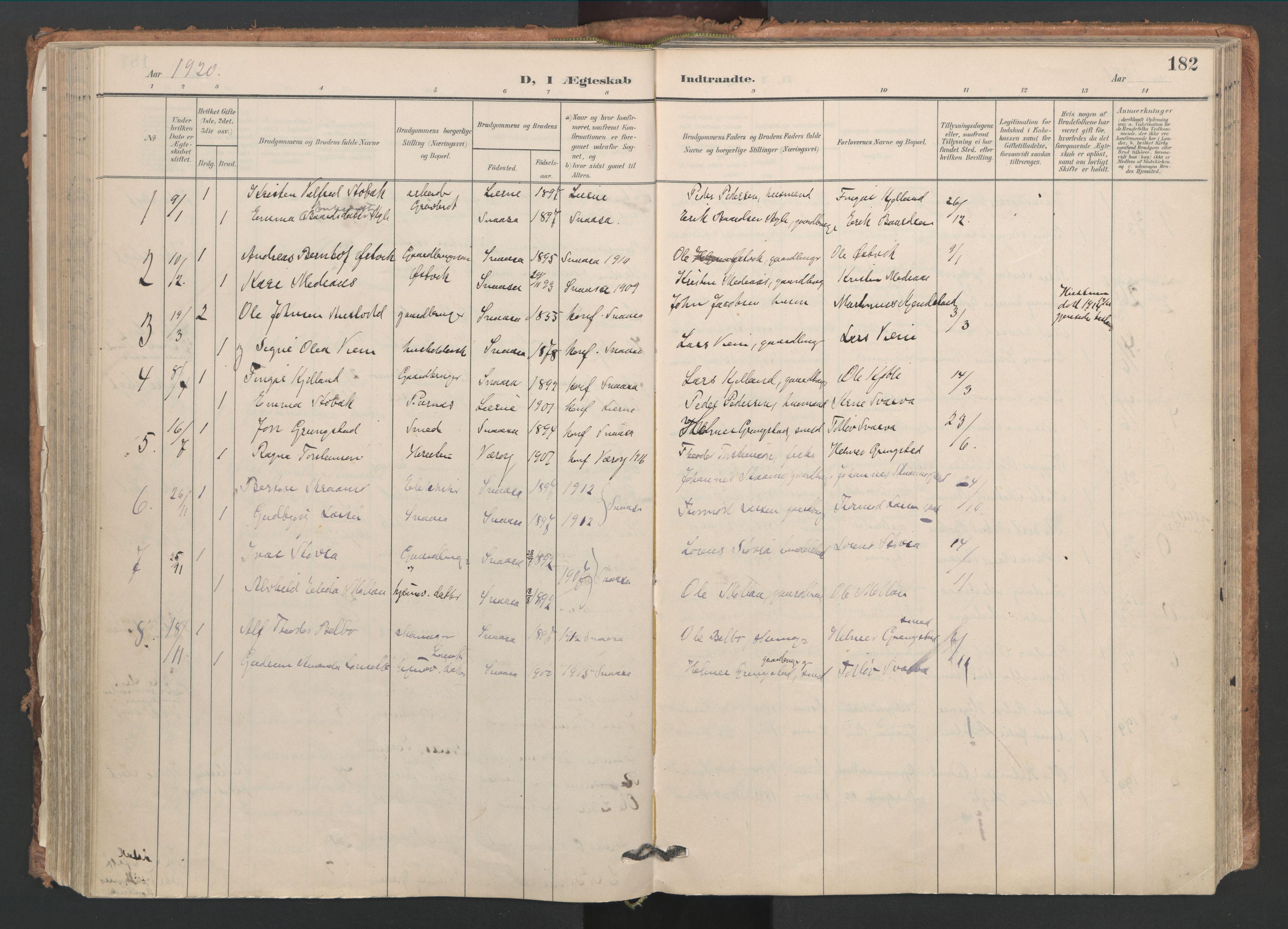 SAT, Ministerialprotokoller, klokkerbøker og fødselsregistre - Nord-Trøndelag, 749/L0477: Ministerialbok nr. 749A11, 1902-1927, s. 182