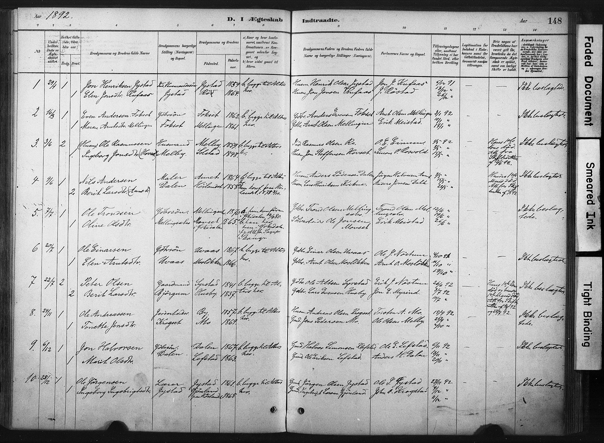 SAT, Ministerialprotokoller, klokkerbøker og fødselsregistre - Sør-Trøndelag, 667/L0795: Ministerialbok nr. 667A03, 1879-1907, s. 148
