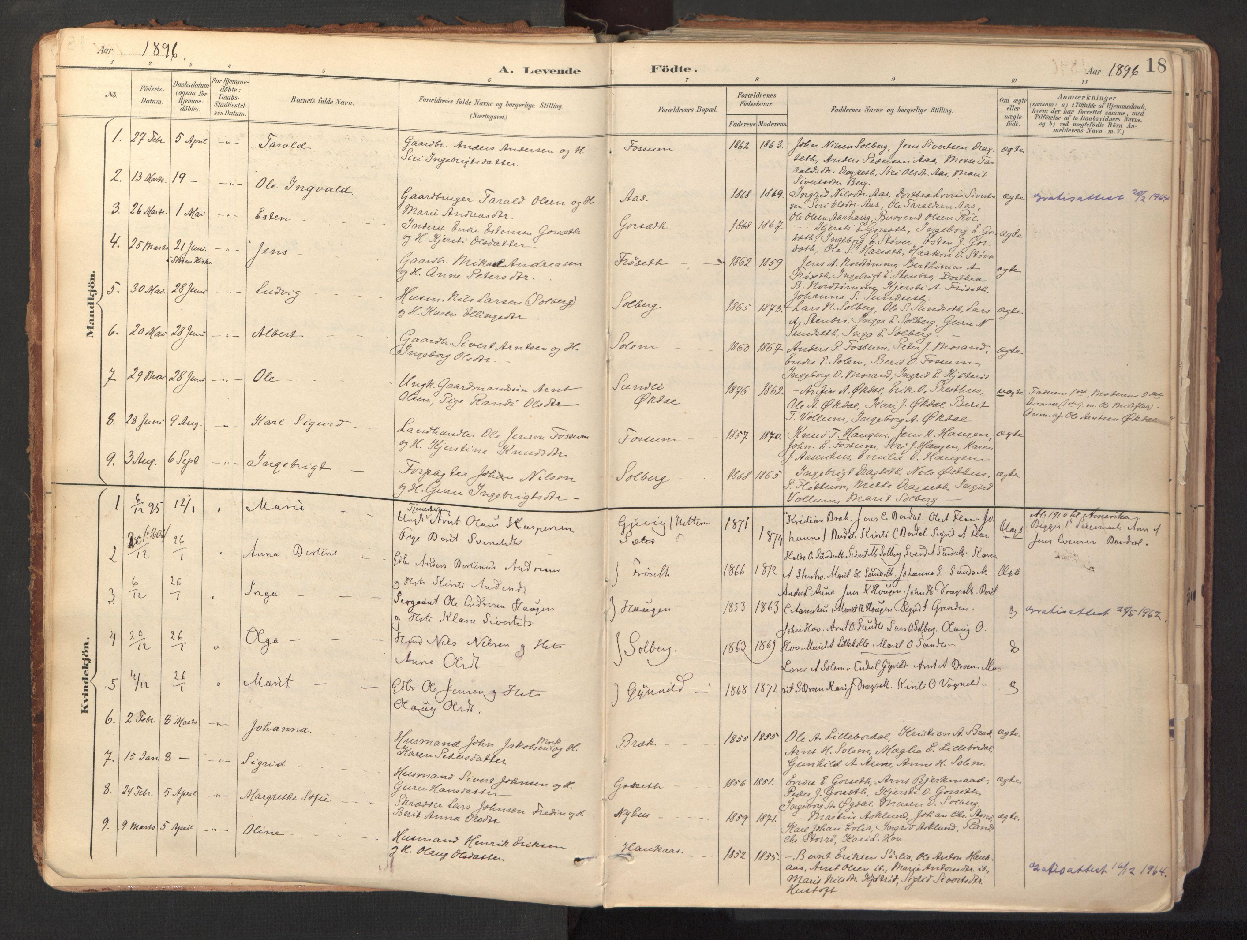 SAT, Ministerialprotokoller, klokkerbøker og fødselsregistre - Sør-Trøndelag, 689/L1041: Ministerialbok nr. 689A06, 1891-1923, s. 18