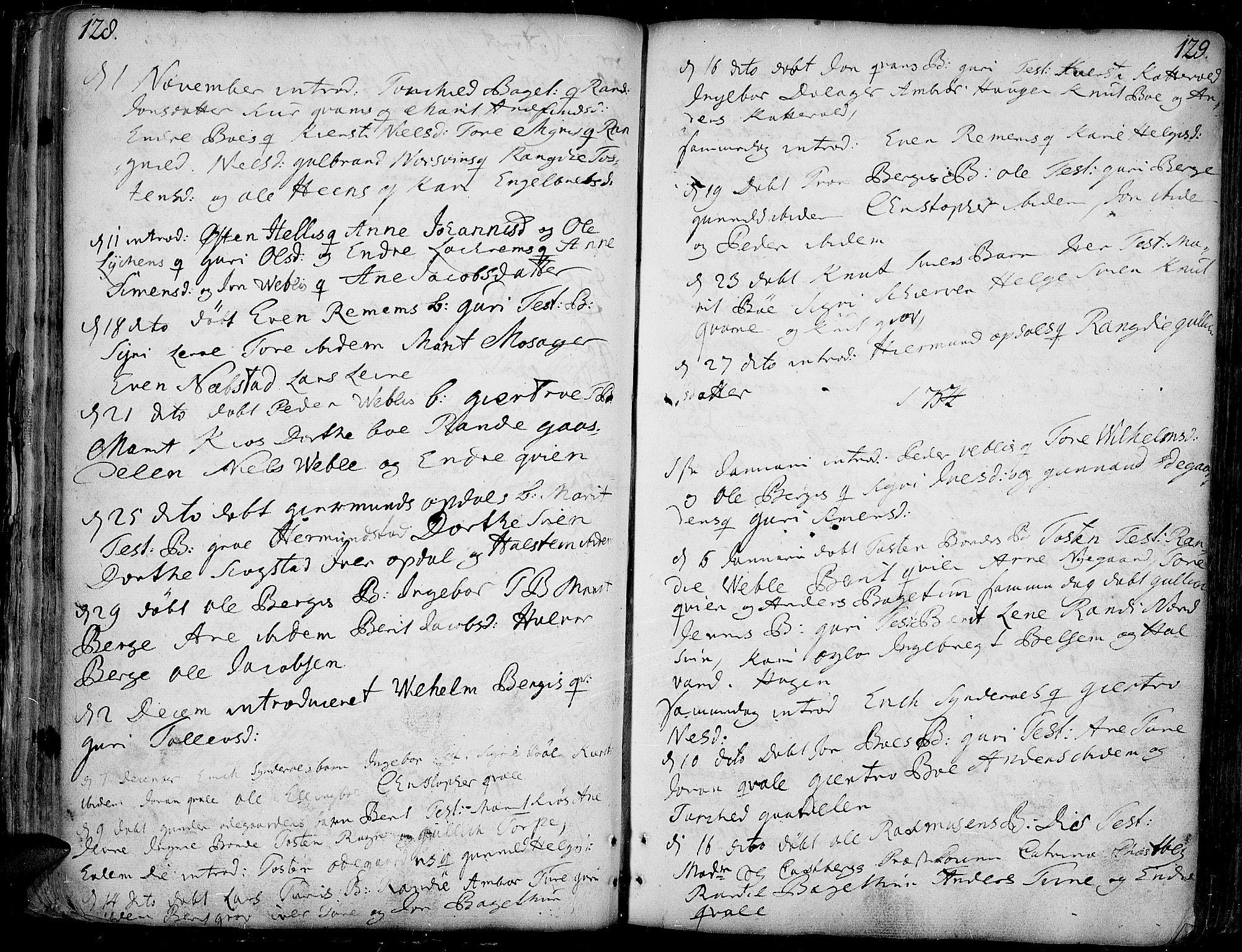 SAH, Vang prestekontor, Valdres, Ministerialbok nr. 1, 1730-1796, s. 128-129