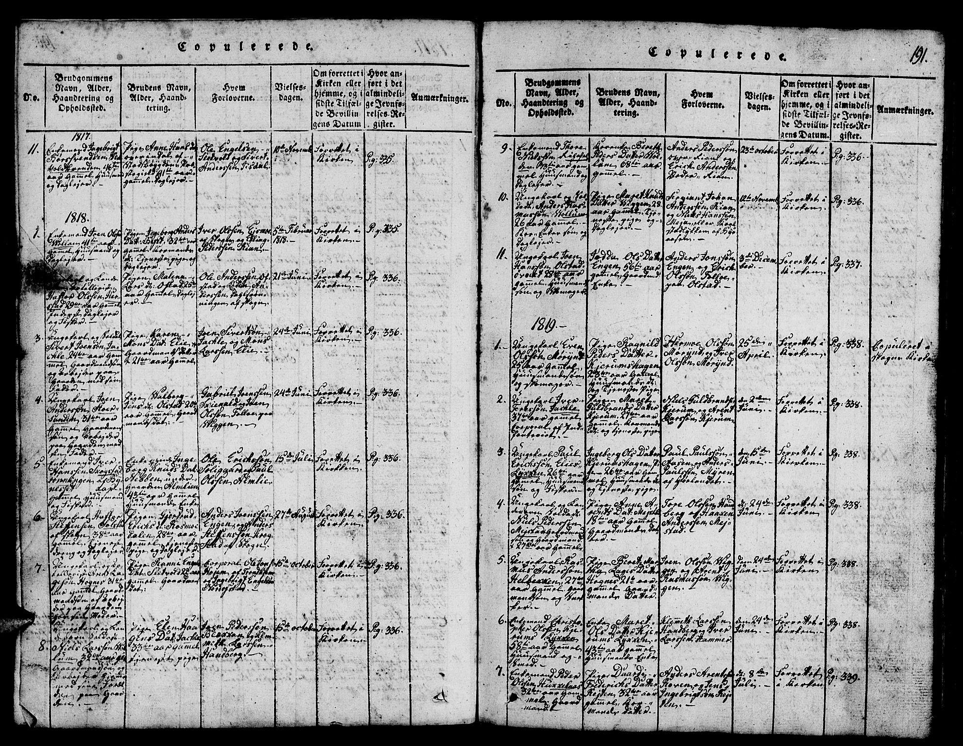 SAT, Ministerialprotokoller, klokkerbøker og fødselsregistre - Sør-Trøndelag, 665/L0776: Klokkerbok nr. 665C01, 1817-1837, s. 191