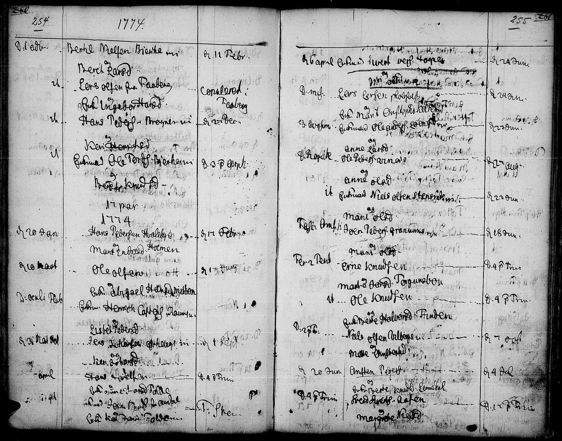 SAH, Land prestekontor, Ministerialbok nr. 5, 1765-1784, s. 254-255