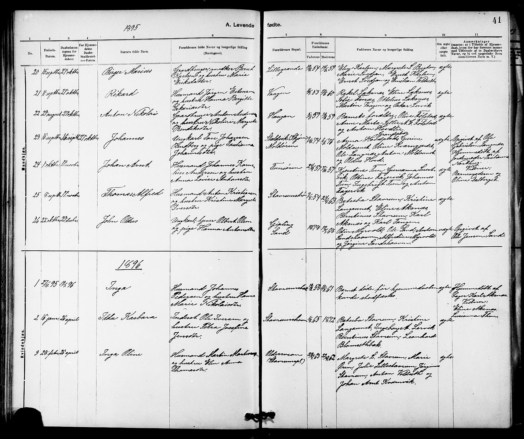 SAT, Ministerialprotokoller, klokkerbøker og fødselsregistre - Nord-Trøndelag, 744/L0423: Klokkerbok nr. 744C02, 1886-1905, s. 41