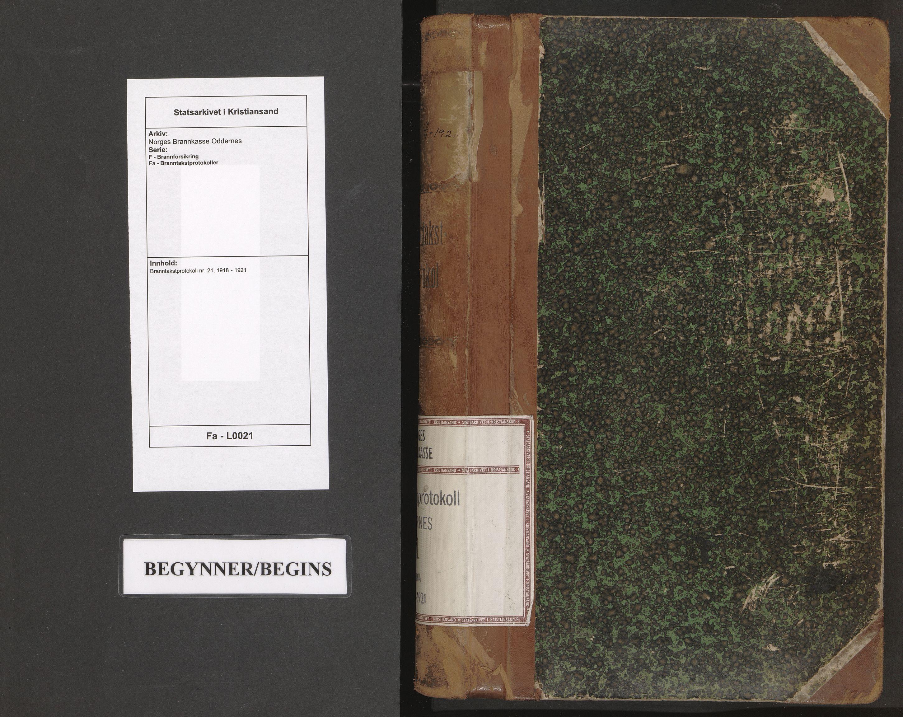 SAK, Norges Brannkasse Oddernes, F/Fa/L0021: Branntakstprotokoll nr. 21, 1918-1921