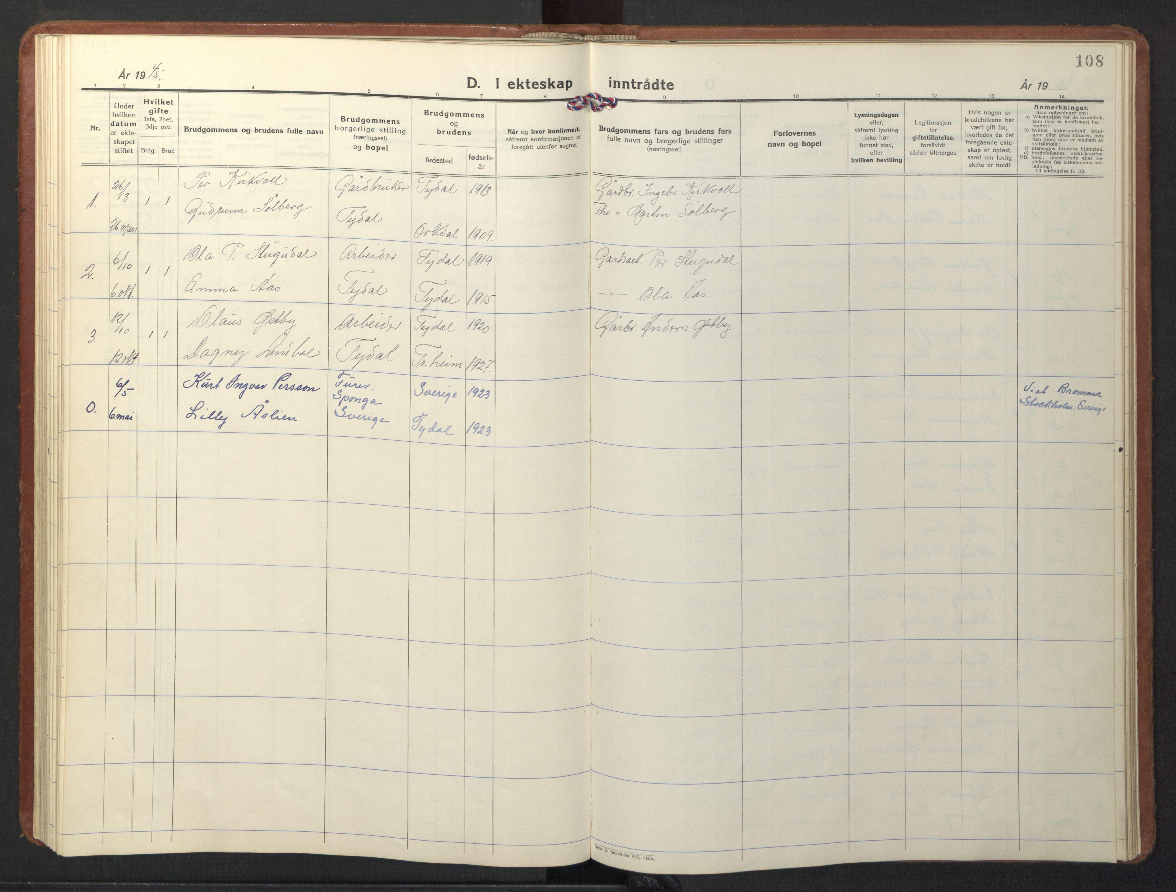 SAT, Ministerialprotokoller, klokkerbøker og fødselsregistre - Sør-Trøndelag, 698/L1169: Klokkerbok nr. 698C06, 1930-1949, s. 108