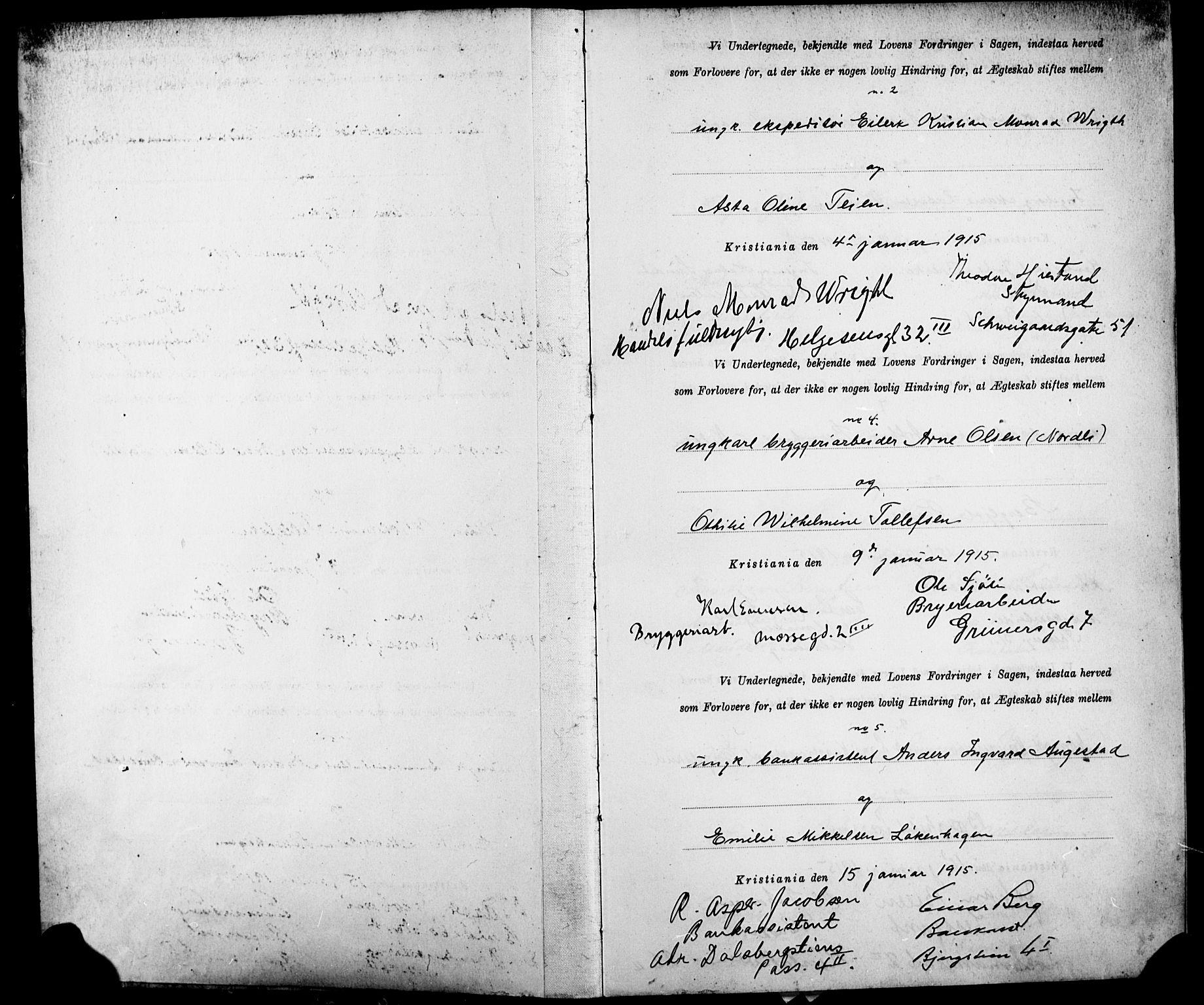 SAO, Gamle Aker prestekontor Kirkebøker, K/L0002: Forlovererklæringer nr. 2, 1915-1918