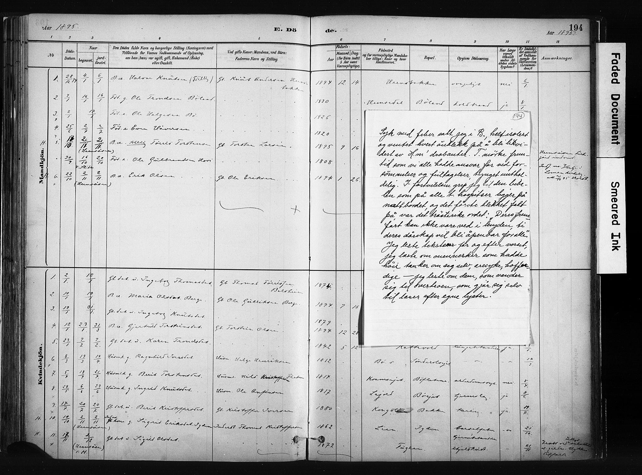 SAH, Vang prestekontor, Valdres, Ministerialbok nr. 8, 1882-1910, s. 194