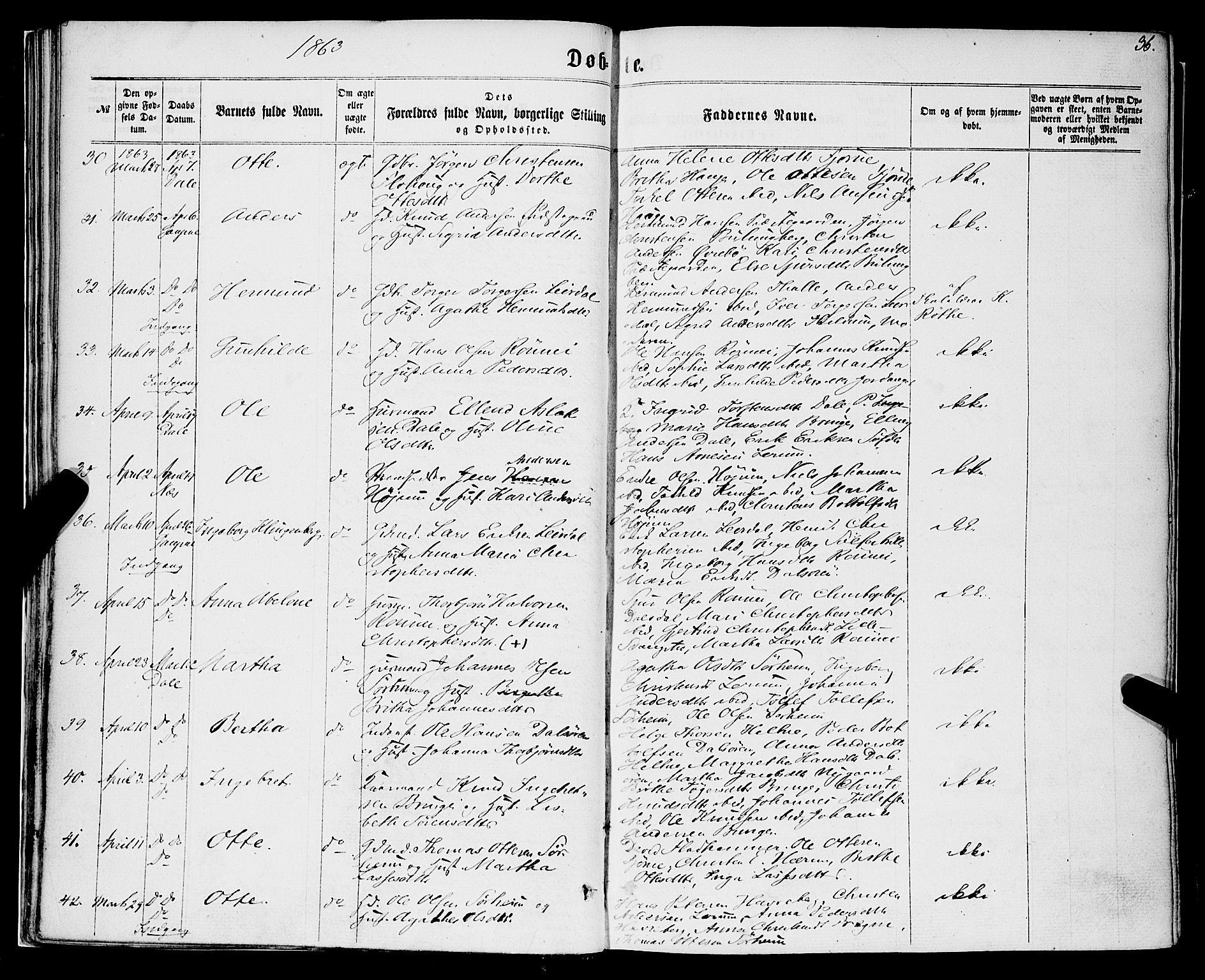 SAB, Luster Sokneprestembete, H/Haa/Haaa/L0008: Ministerialbok nr. A 8, 1860-1870, s. 36